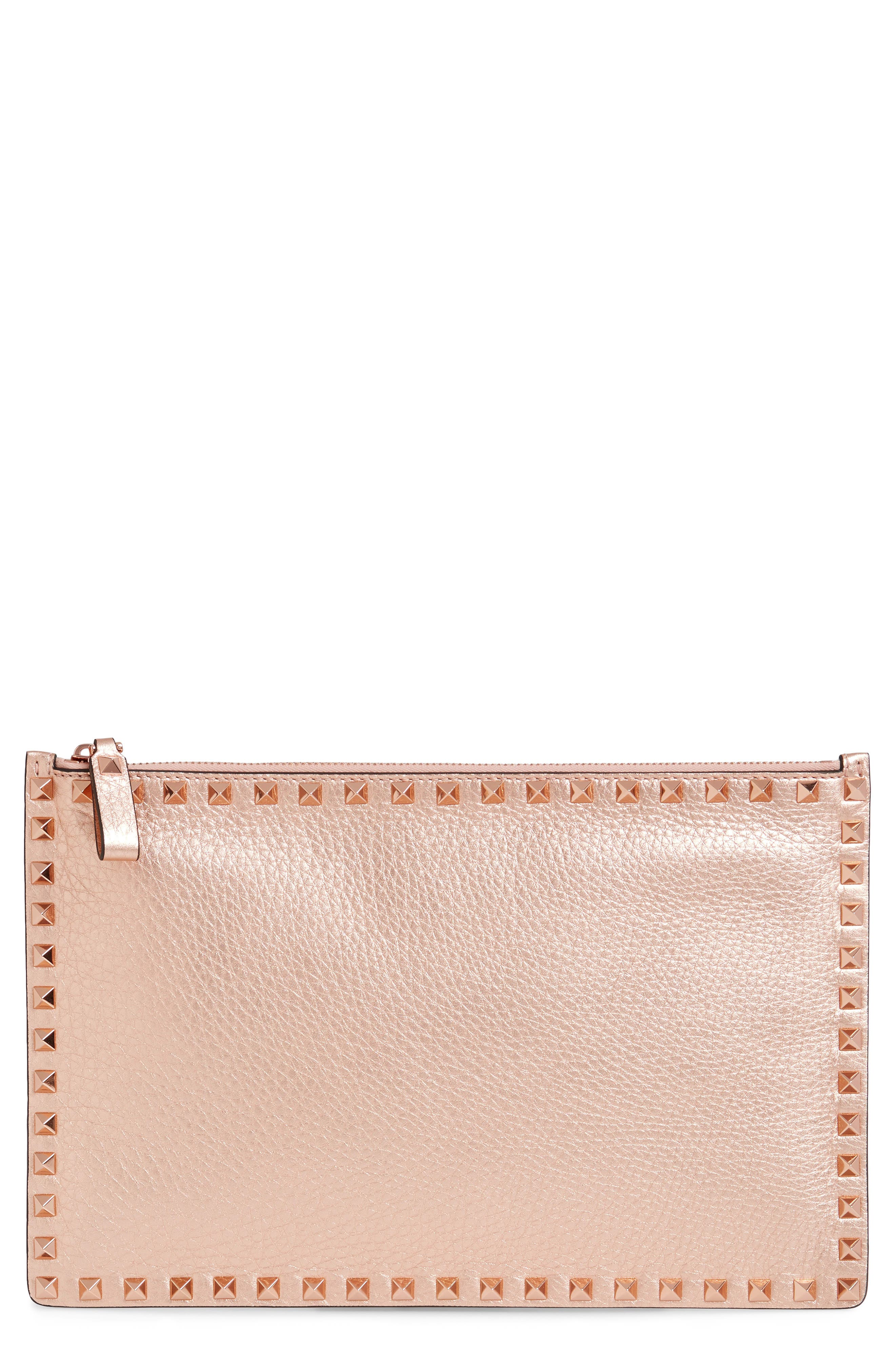Large Rockstud Flat Leather Zip Pouch,                         Main,                         color, Rosegold