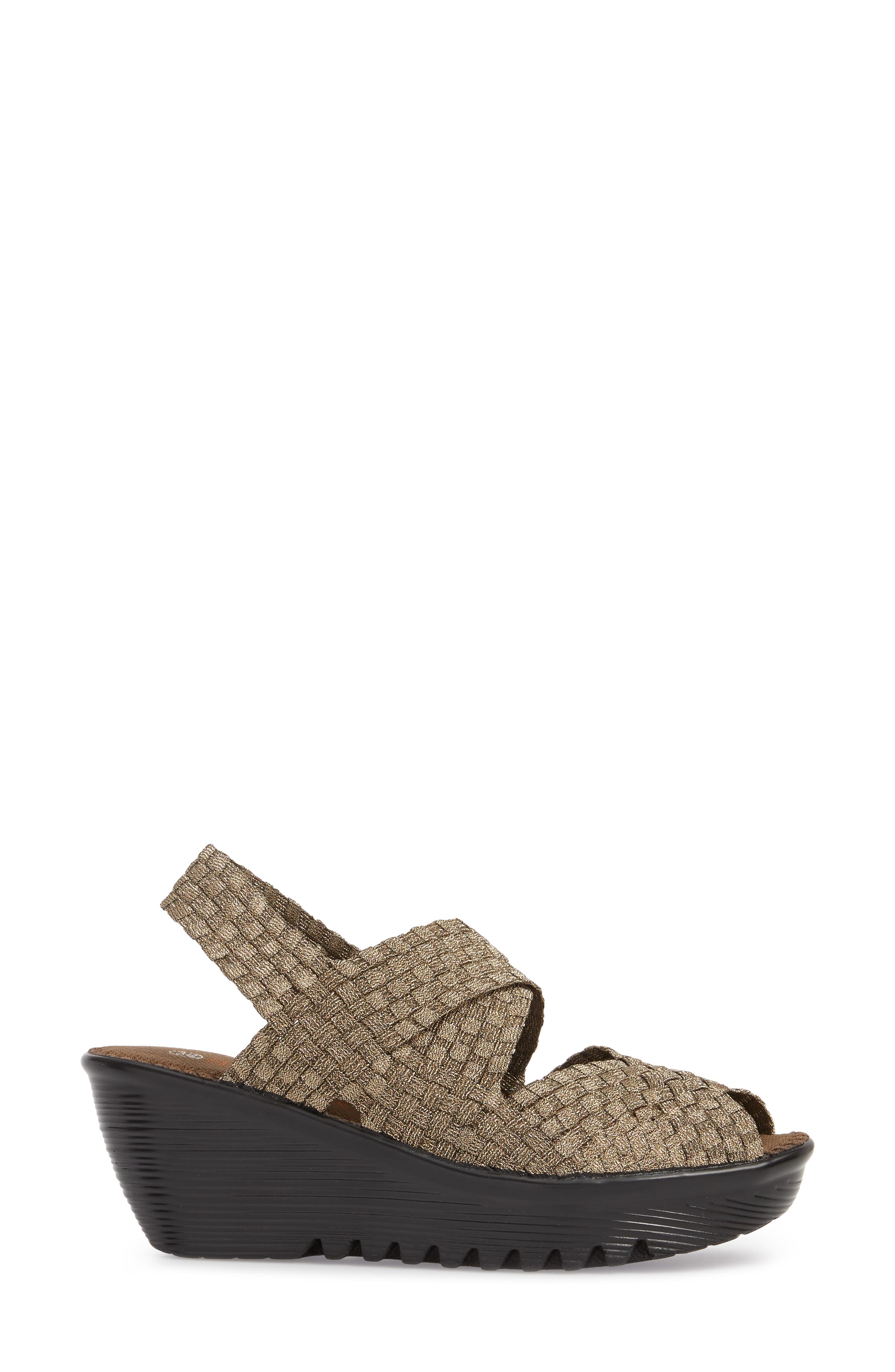 Jessica Wedge Sandal,                             Alternate thumbnail 3, color,                             Bronze Fabric