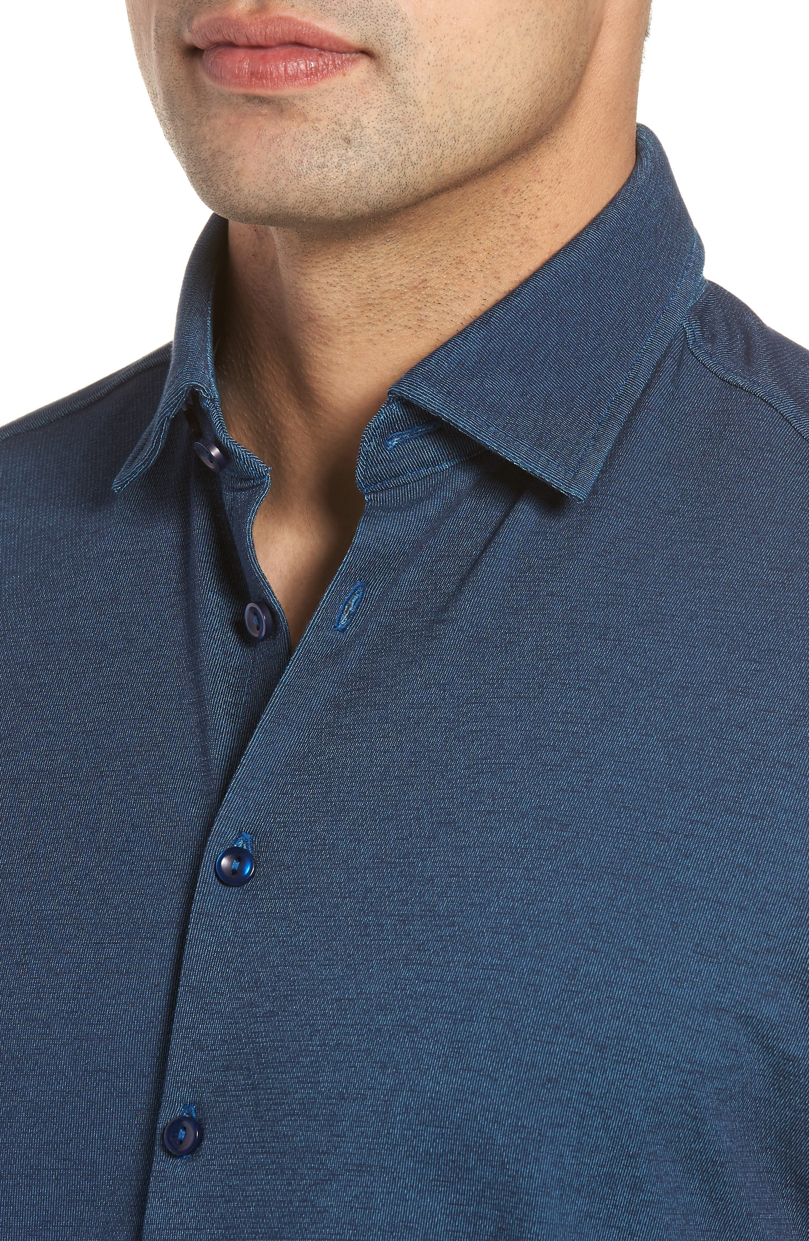 Contemporary Fit Tech Knit Sport Shirt,                             Alternate thumbnail 4, color,                             Navy