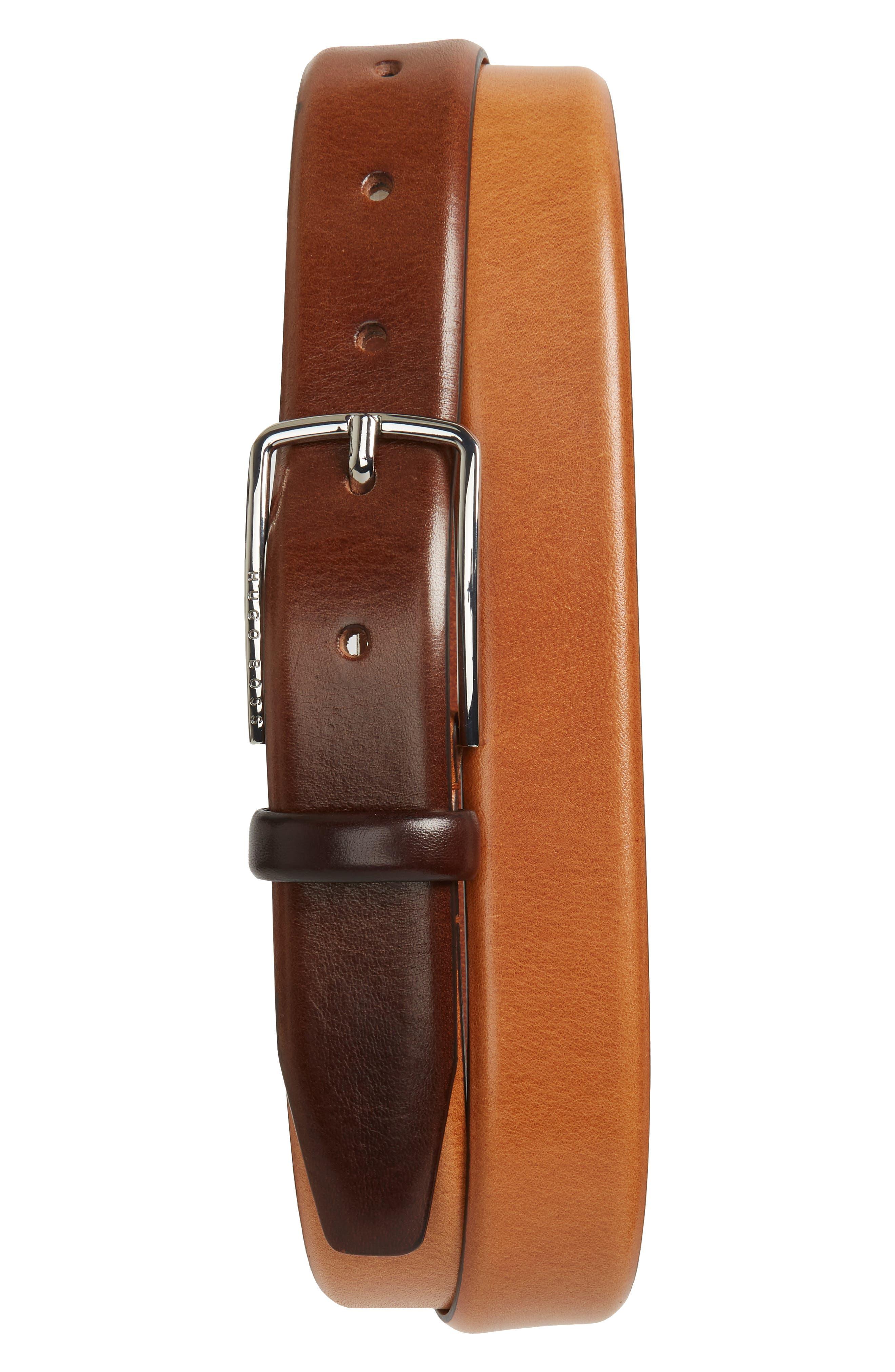 Chuck Leather Belt,                             Main thumbnail 1, color,                             Medium Brown