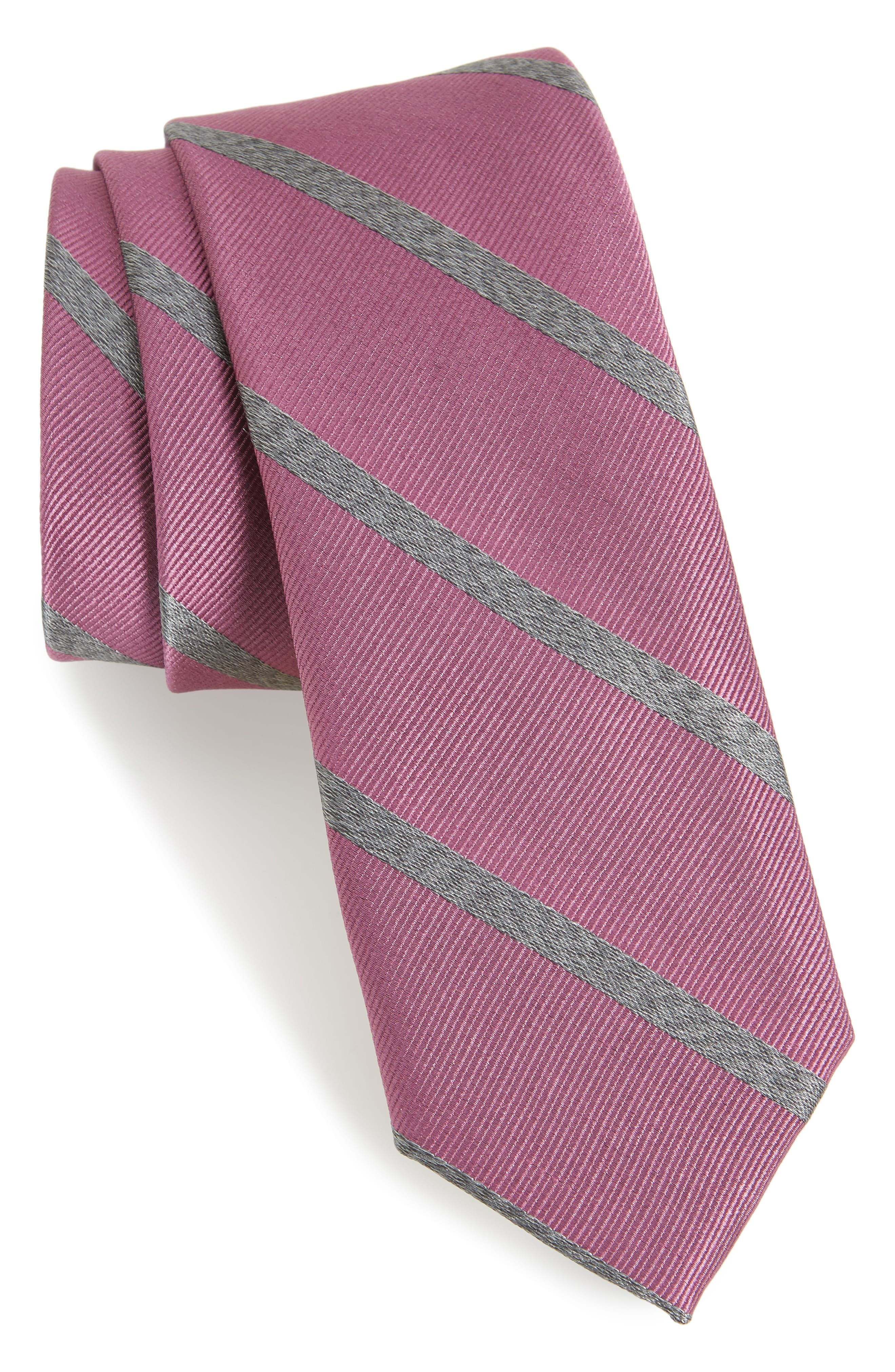 Wheelhouse Stripe Silk Tie,                             Main thumbnail 1, color,                             Dusty Rose