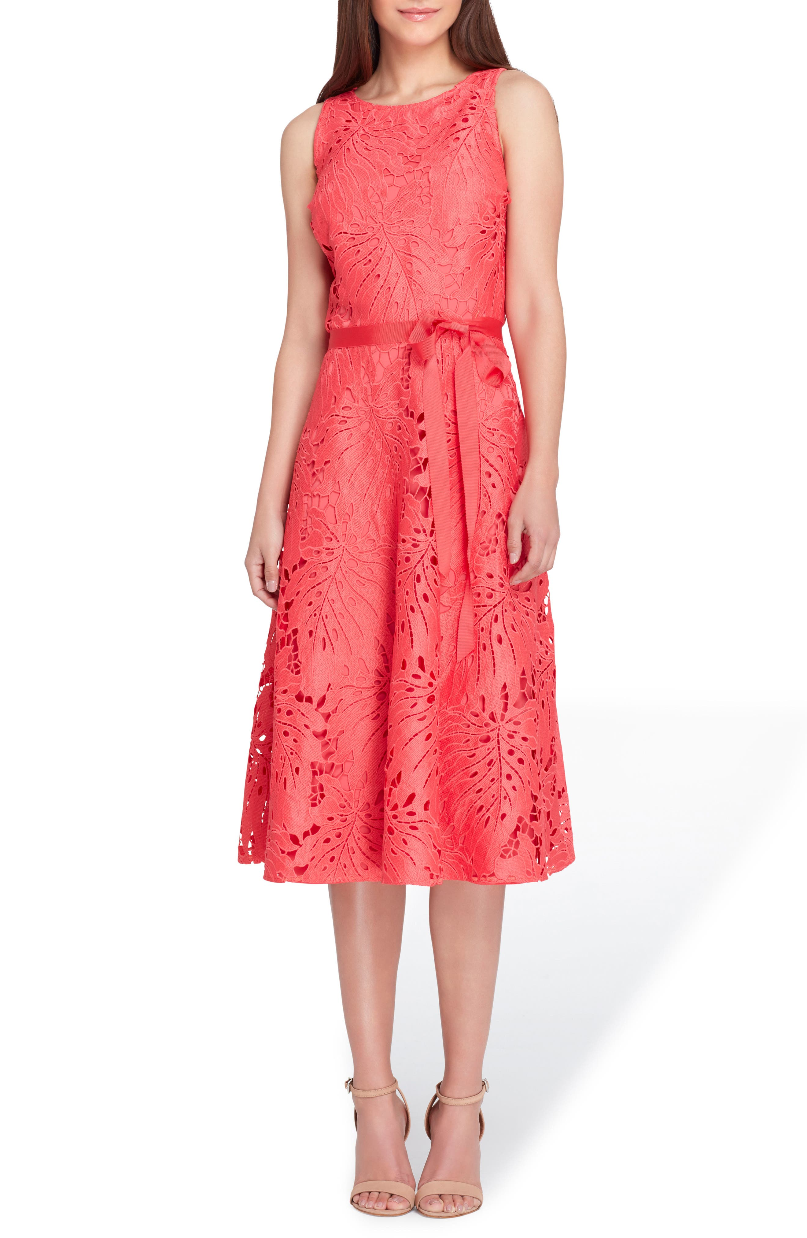 Tropical Leaf Lace A-Line Dress,                             Main thumbnail 1, color,                             Watermelon