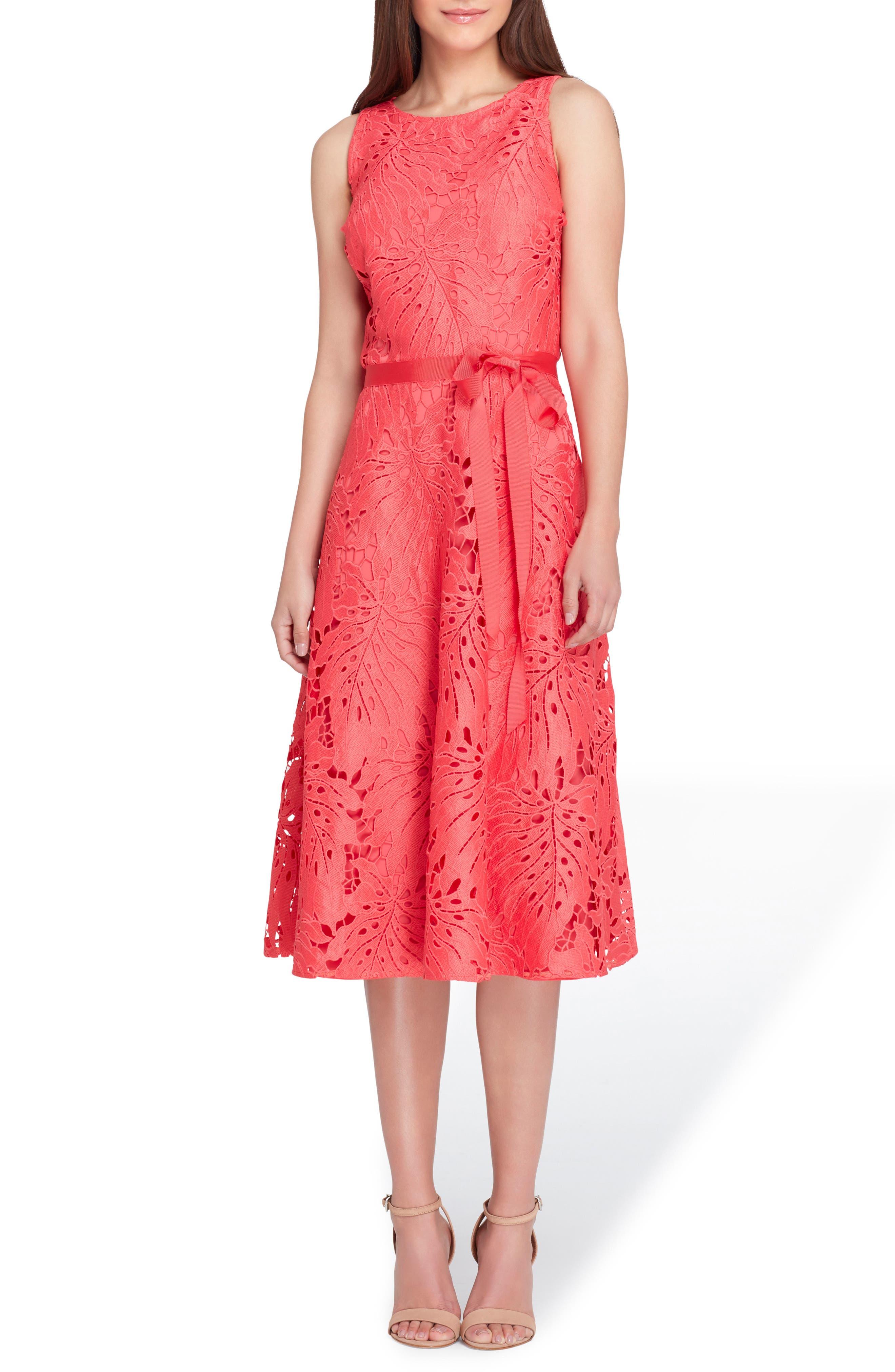 Tropical Leaf Lace A-Line Dress,                         Main,                         color, Watermelon