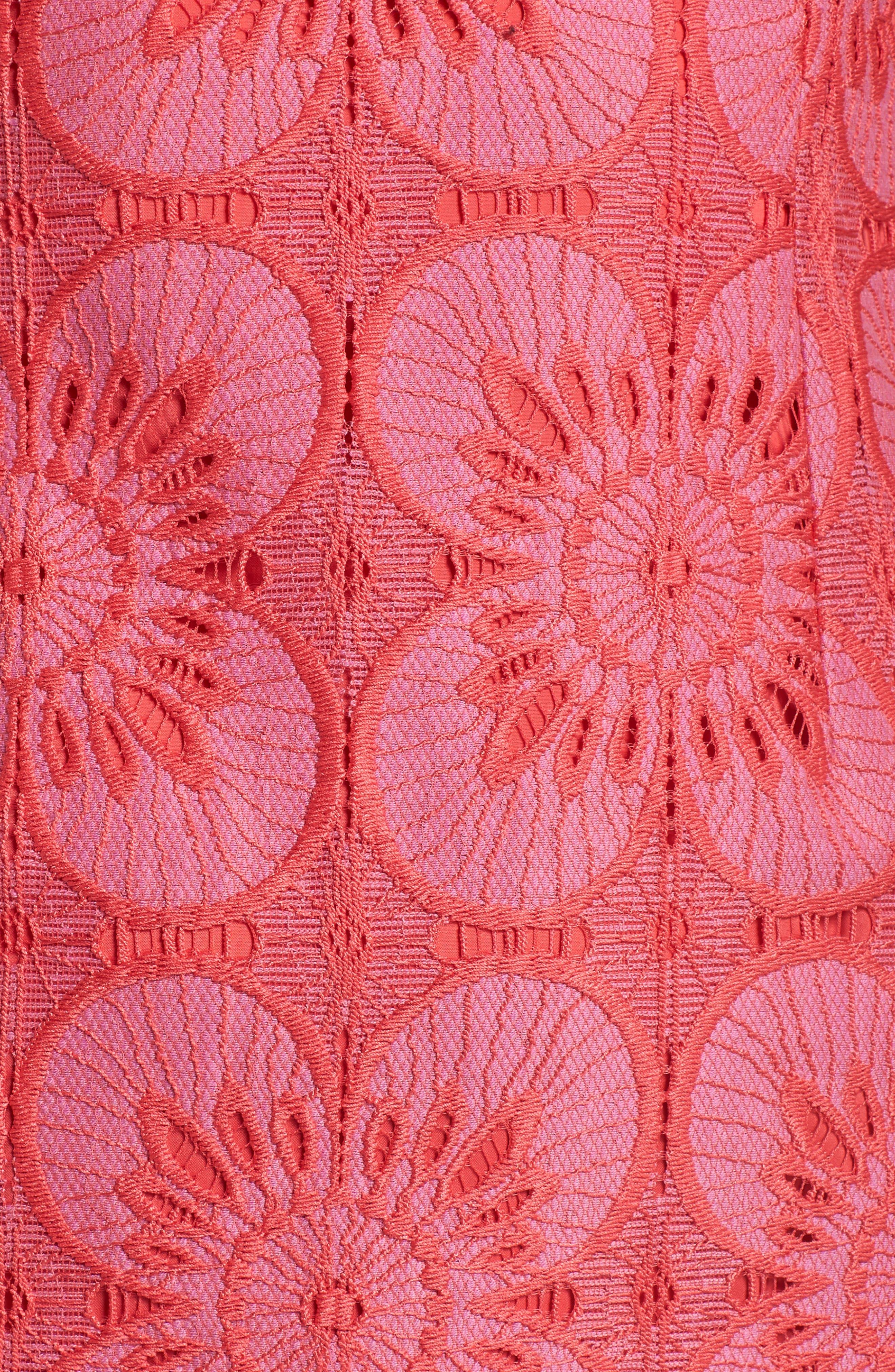 Carpinteria Lace Ruffle Hem Dress,                             Alternate thumbnail 5, color,                             Peony