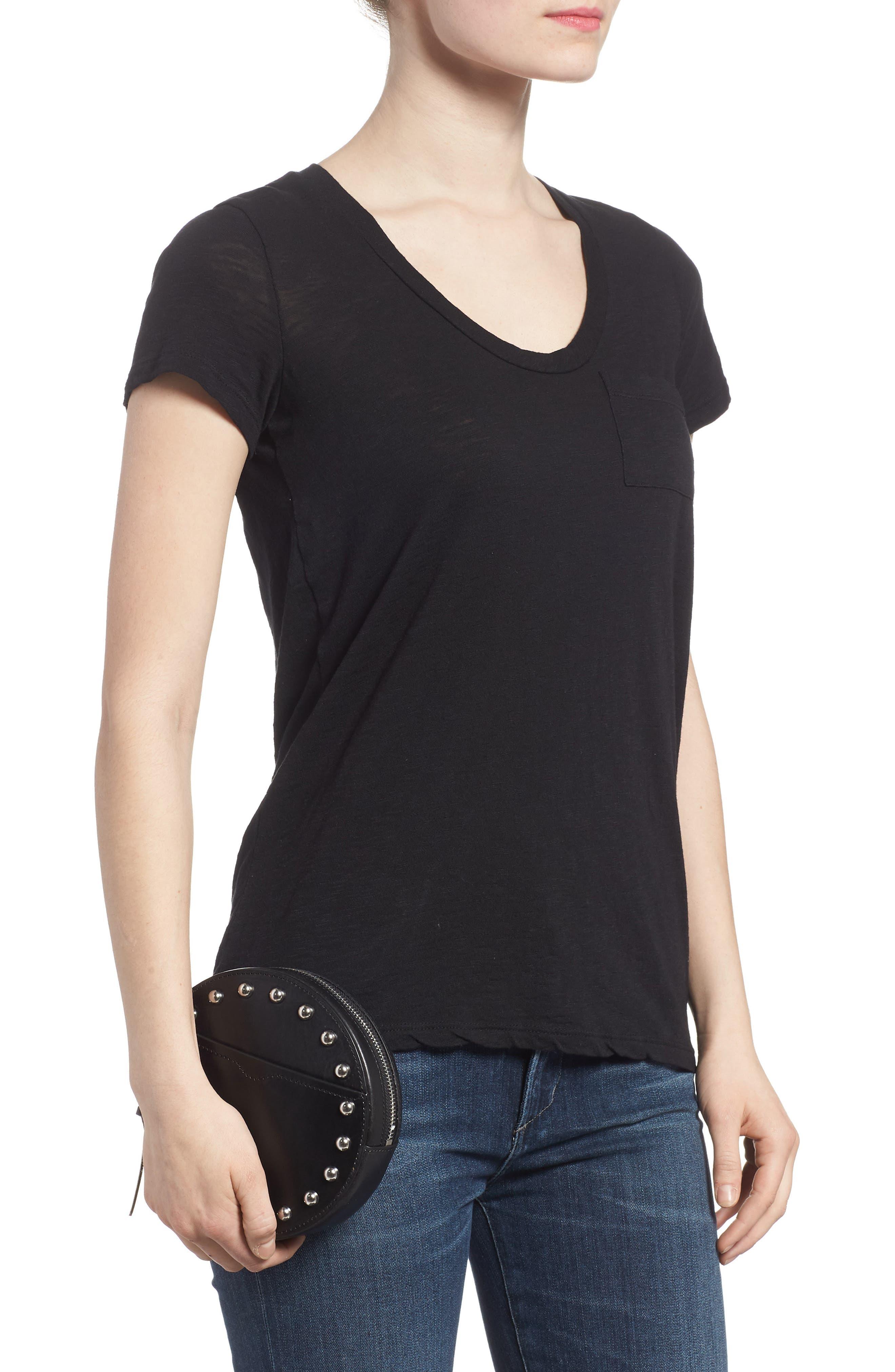 Studded Leather Belt Bag,                             Alternate thumbnail 3, color,                             Black