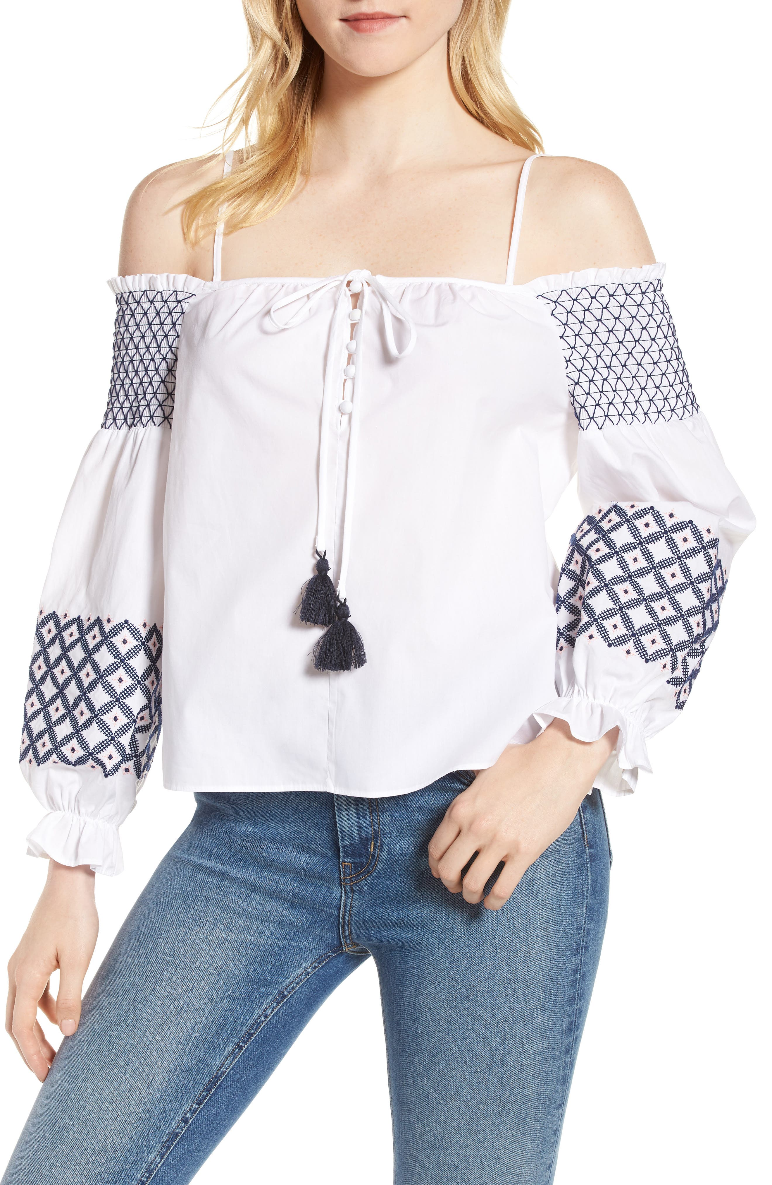 Tiffany Embroidered Cold Shoulder Top,                             Main thumbnail 1, color,                             White