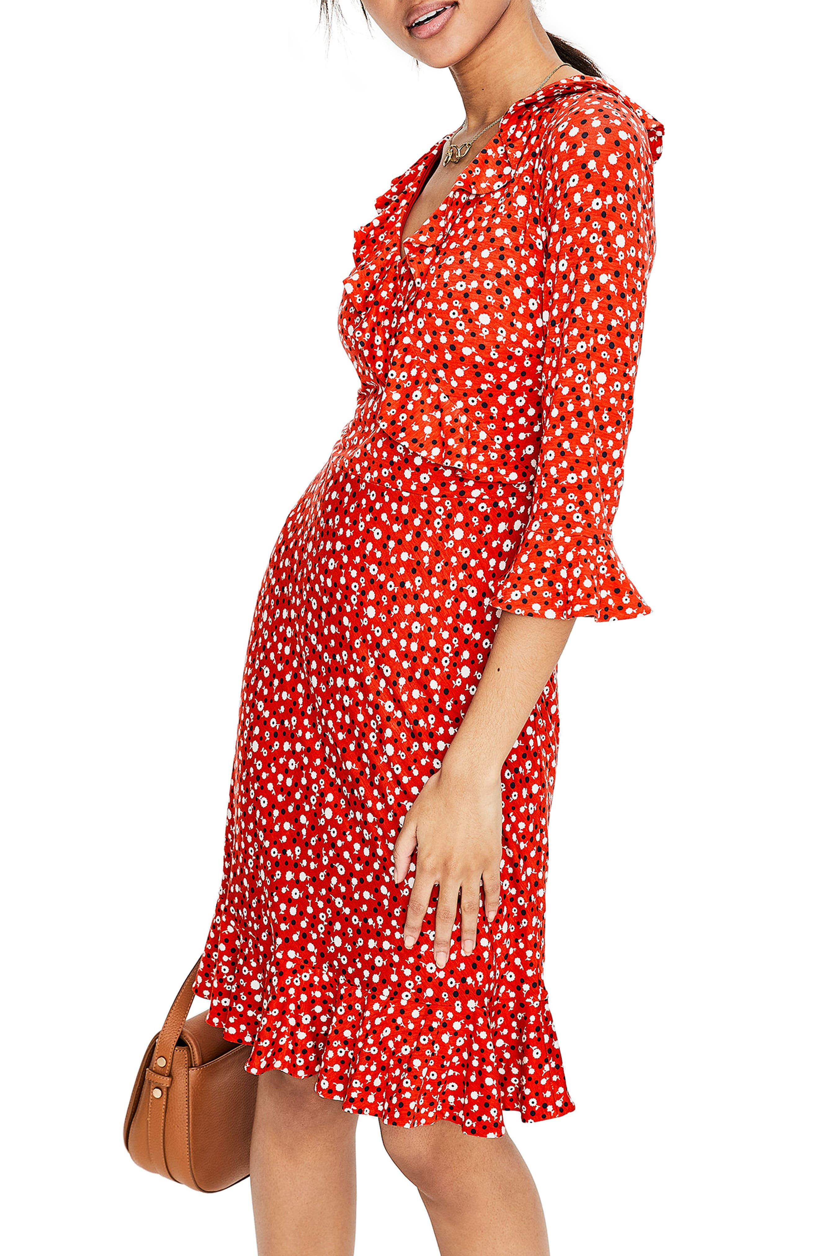 Fluted Wrap Style Stretch Jersey Dress,                             Alternate thumbnail 4, color,                             Rosehip Daisy Ditsy