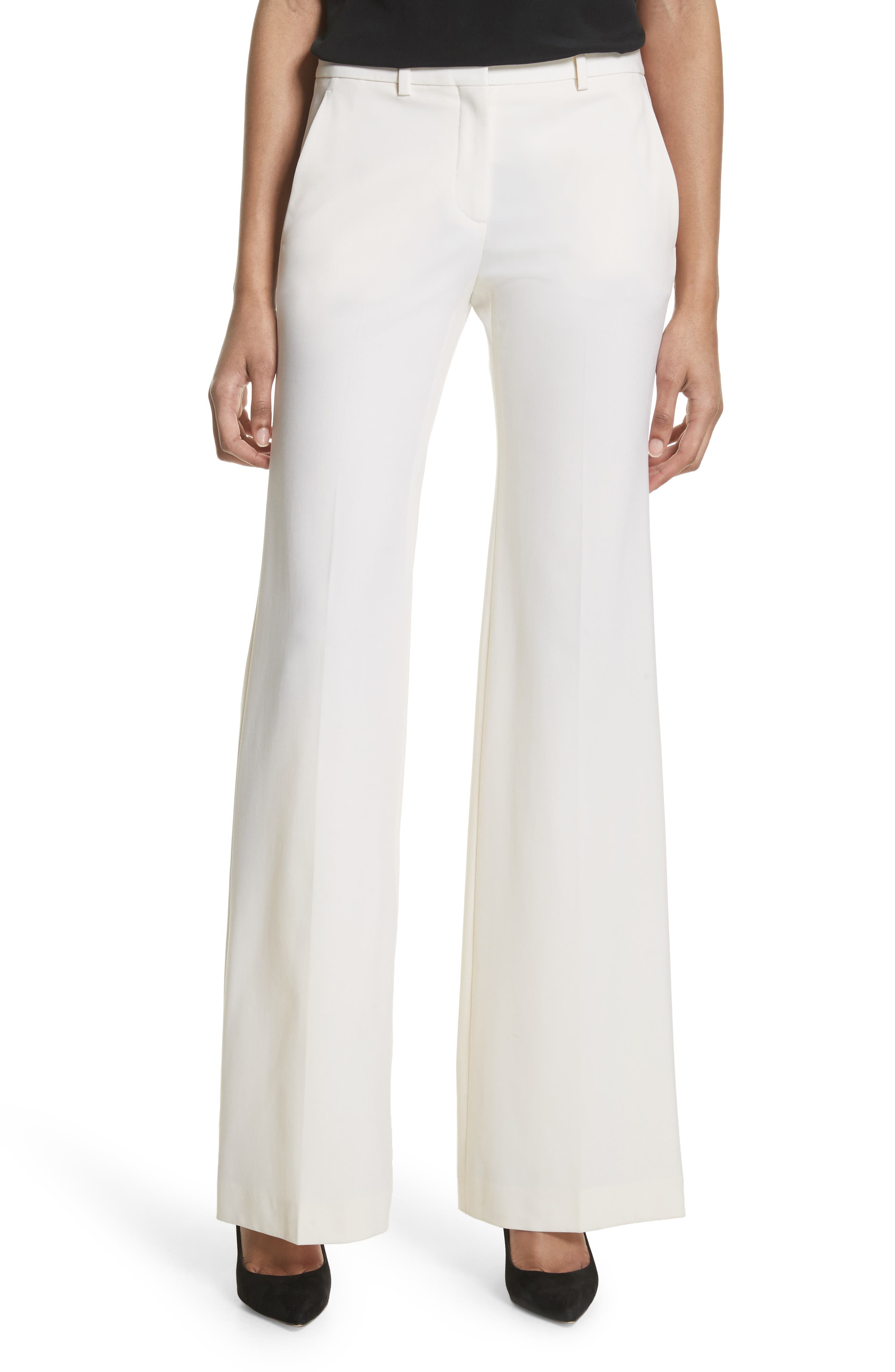 Demitria Polished Wool Pants,                             Main thumbnail 1, color,                             White