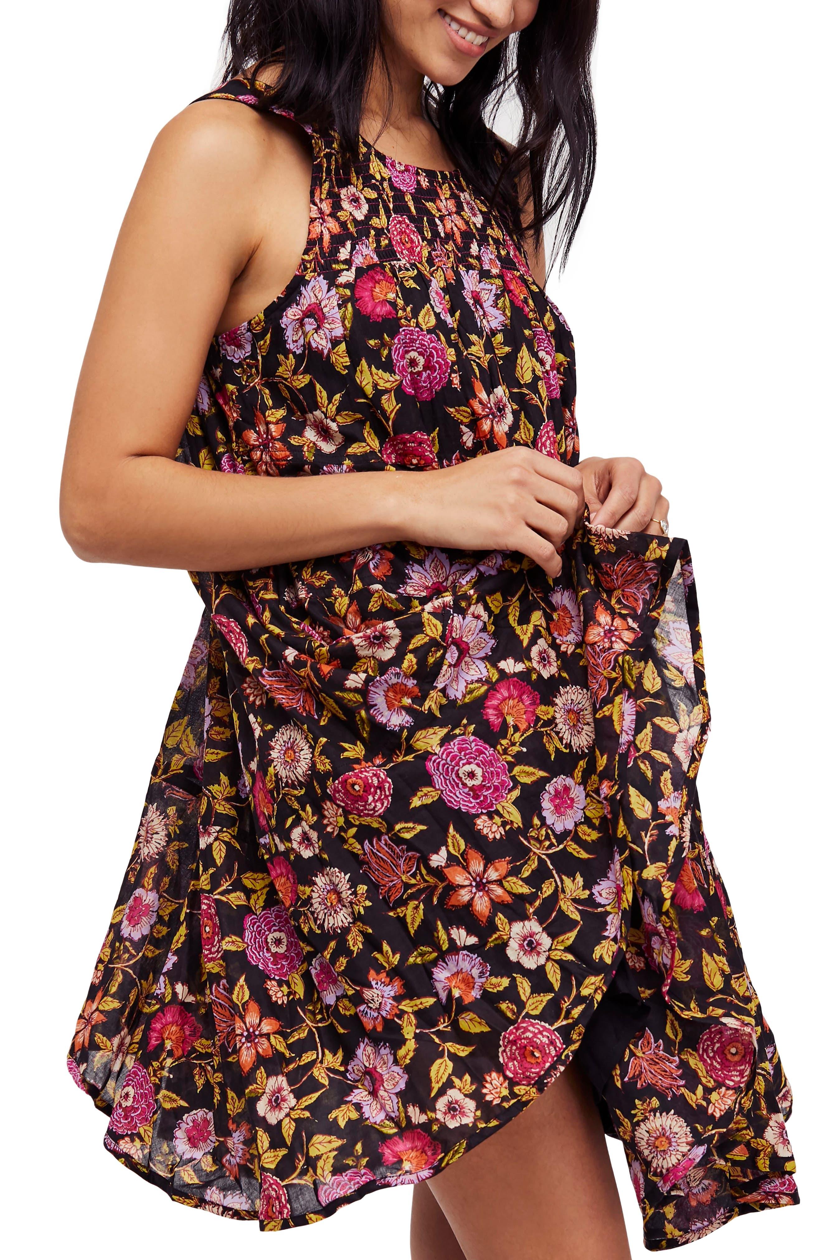 Oh Baby Floral Minidress,                             Main thumbnail 1, color,                             Black