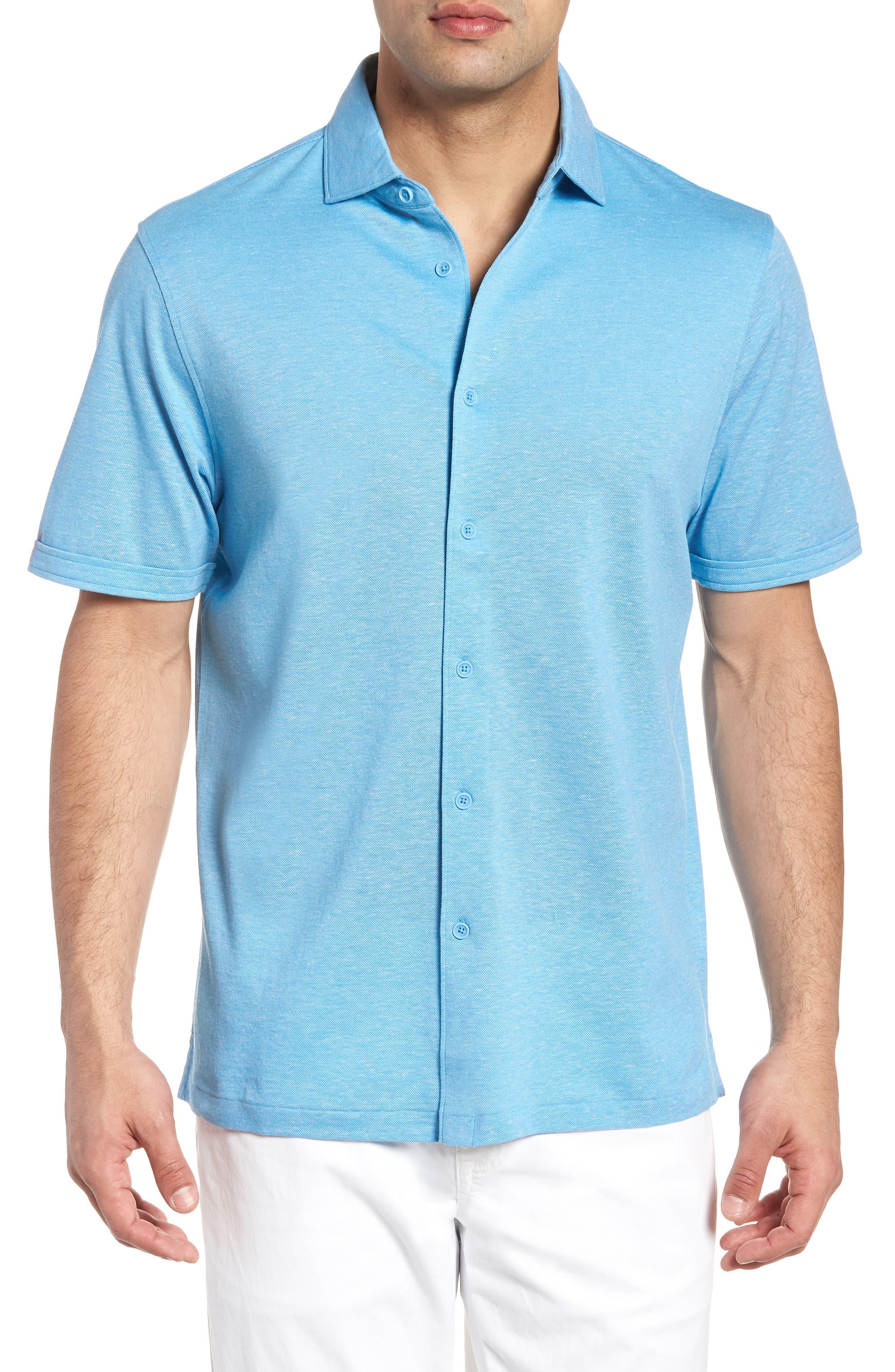 Regular Fit Heather Knit Sport Shirt,                         Main,                         color, Air Blue