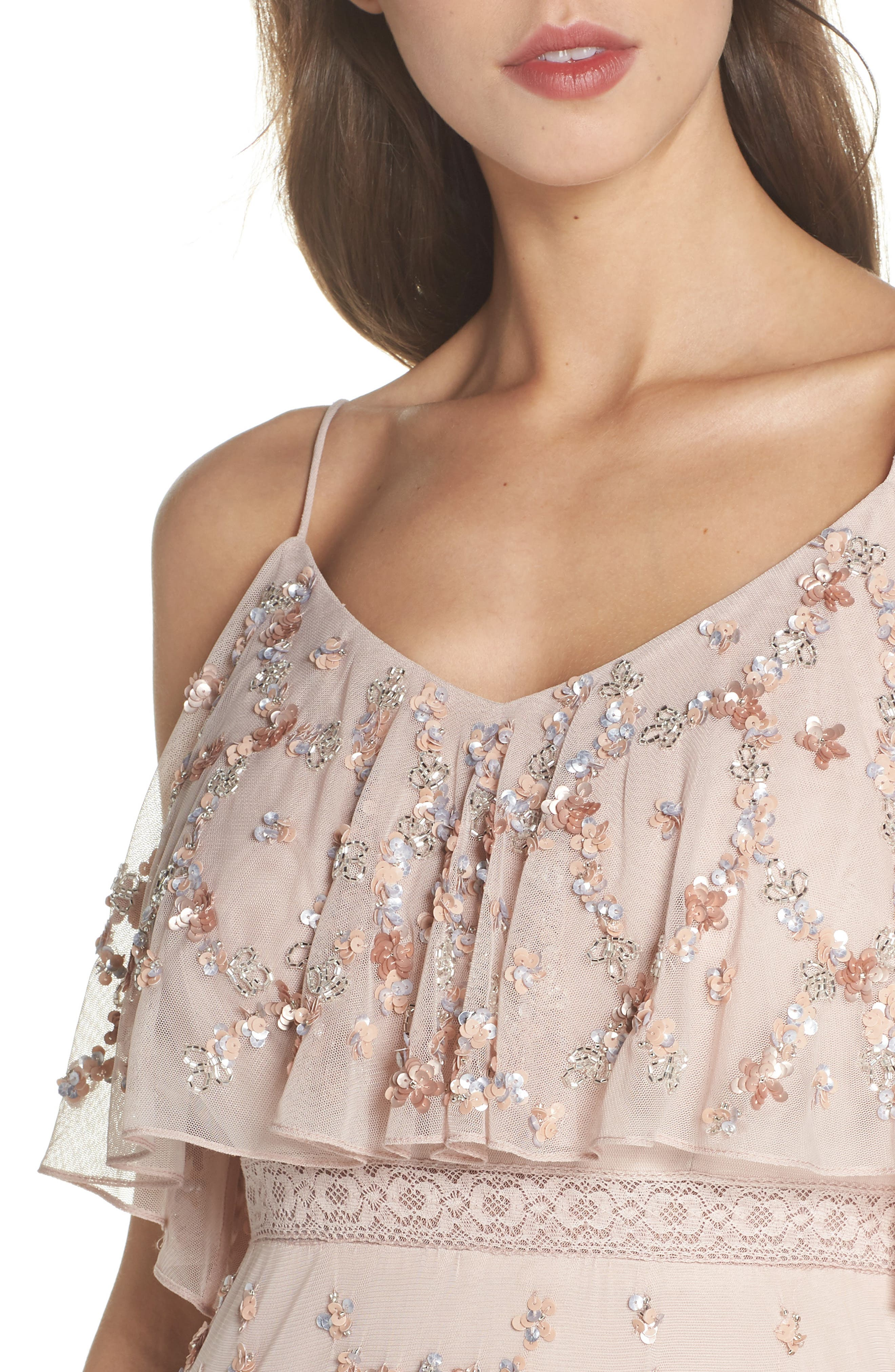 Embellished Mesh Popover Gown,                             Alternate thumbnail 4, color,                             Blush