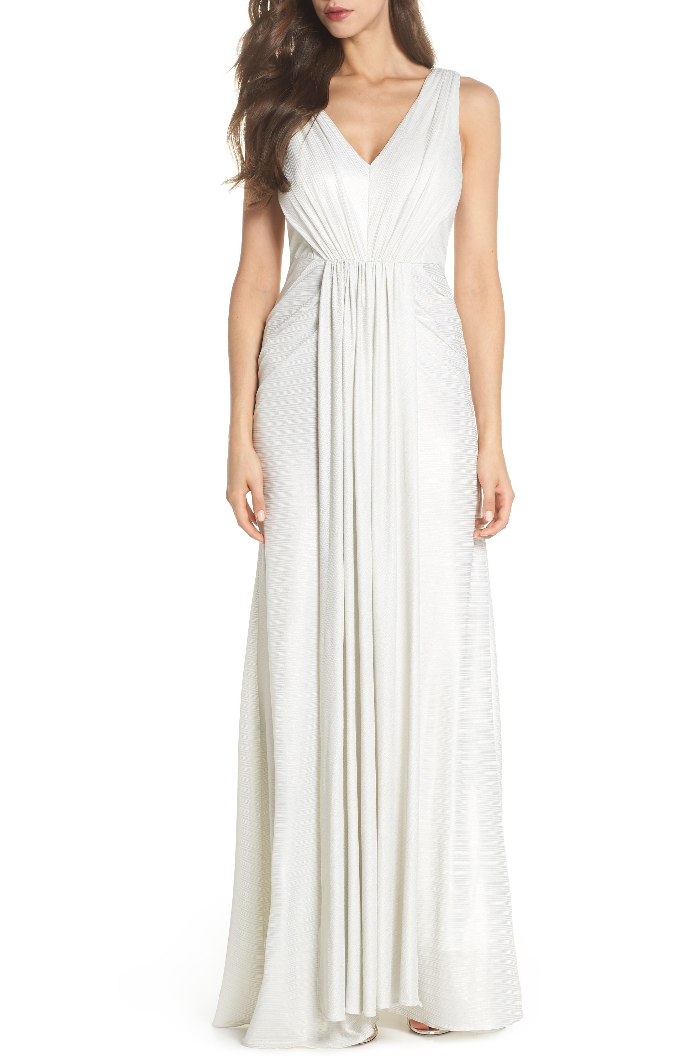 Ruched Gown,                         Main,                         color, Ivory