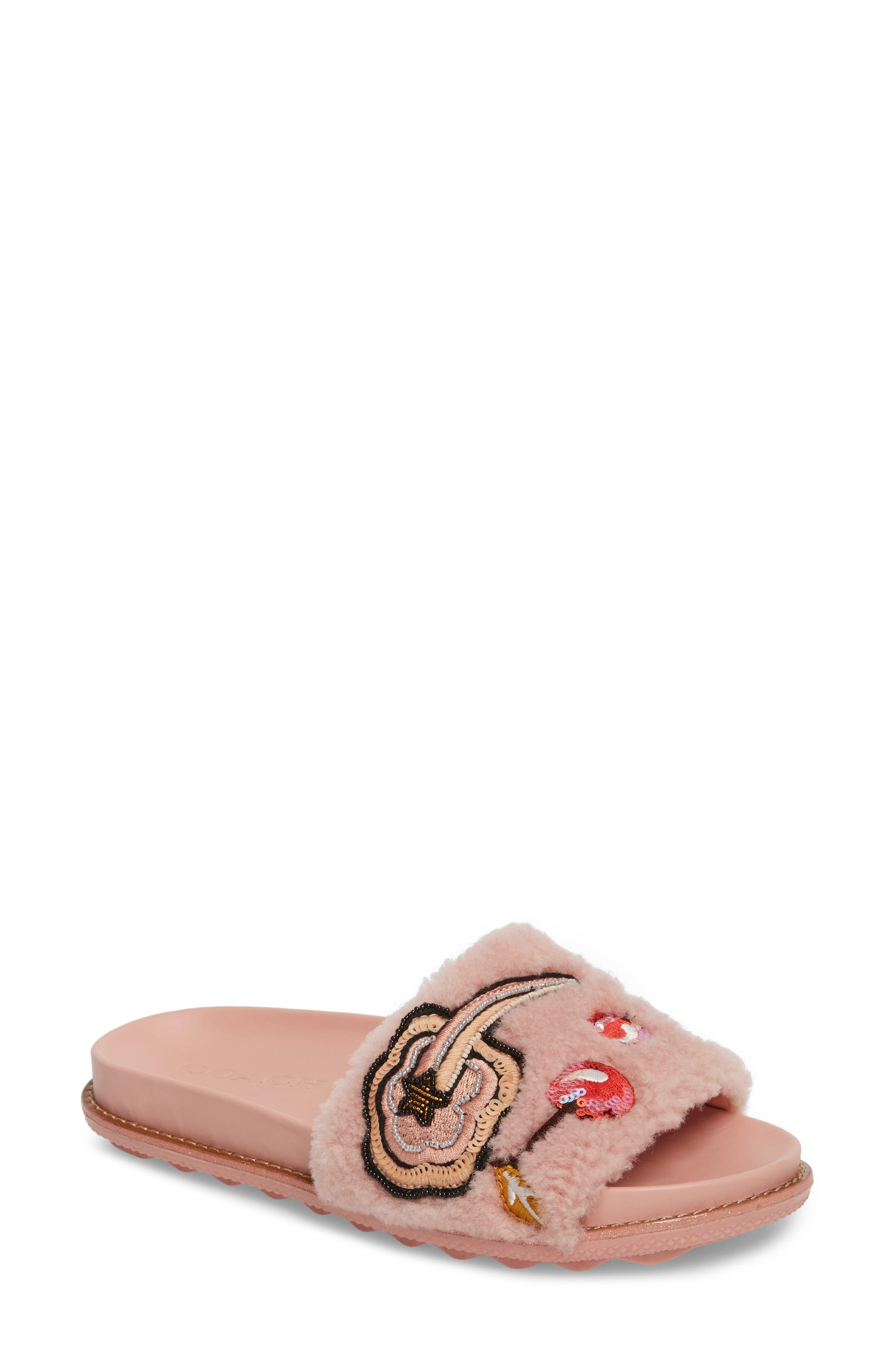 COACH Patch Genuine Shearling Slide Sandal (Women)