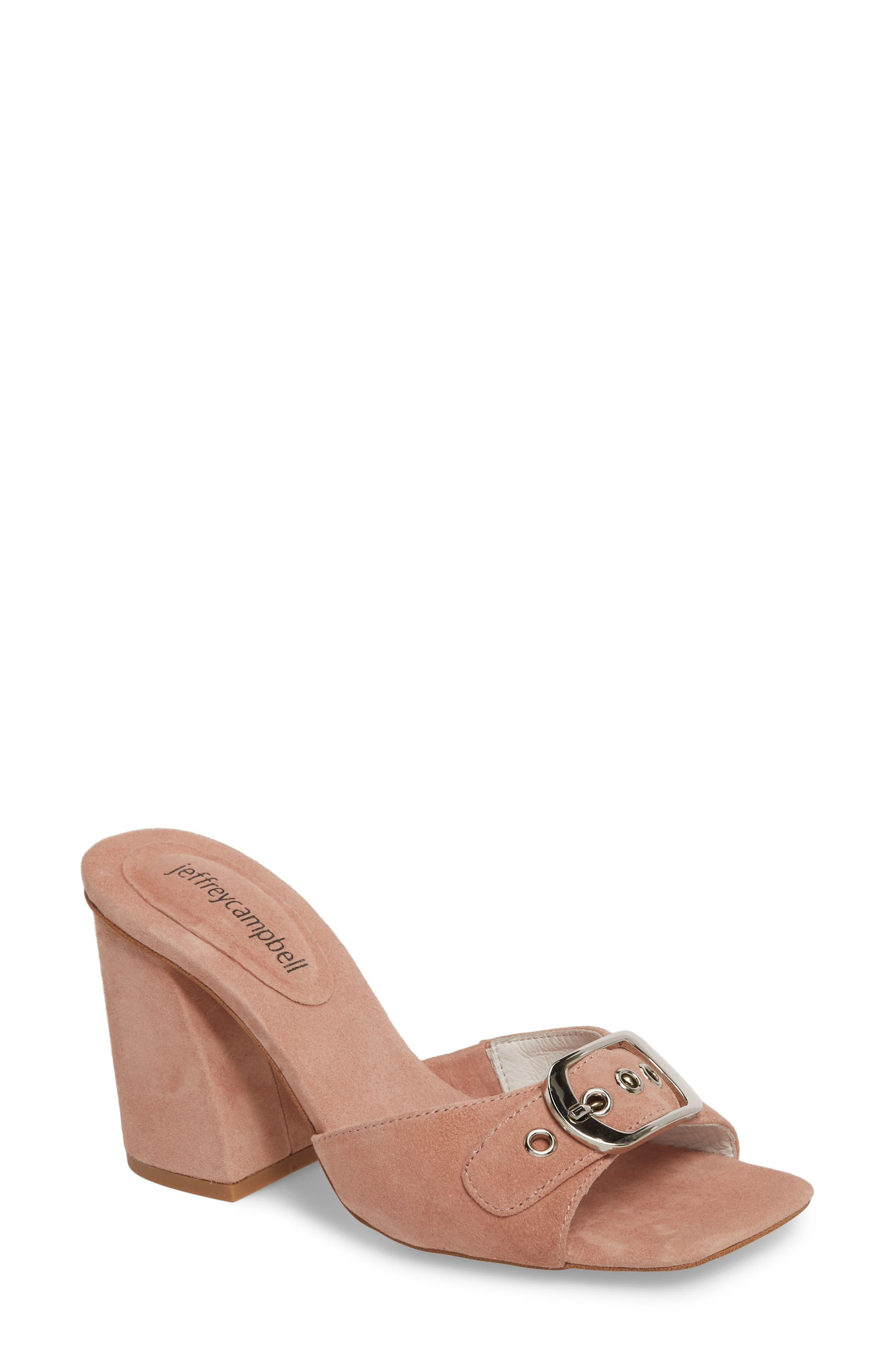 Dub Buckle Sandal,                         Main,                         color, Blush Suede/ Silver