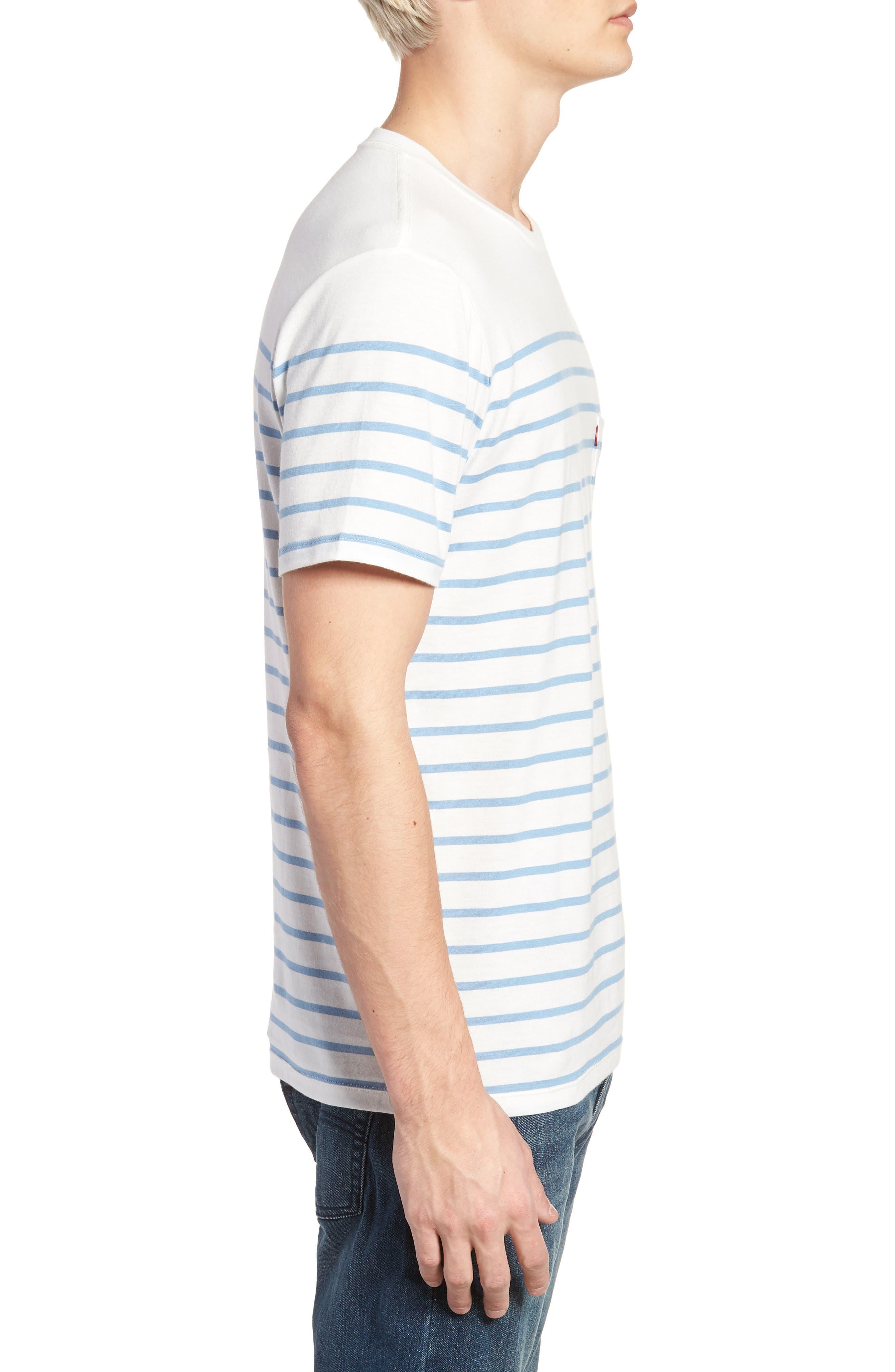 Sunset Pocket T-Shirt,                             Alternate thumbnail 3, color,                             Stripe Marshmallow / Allure
