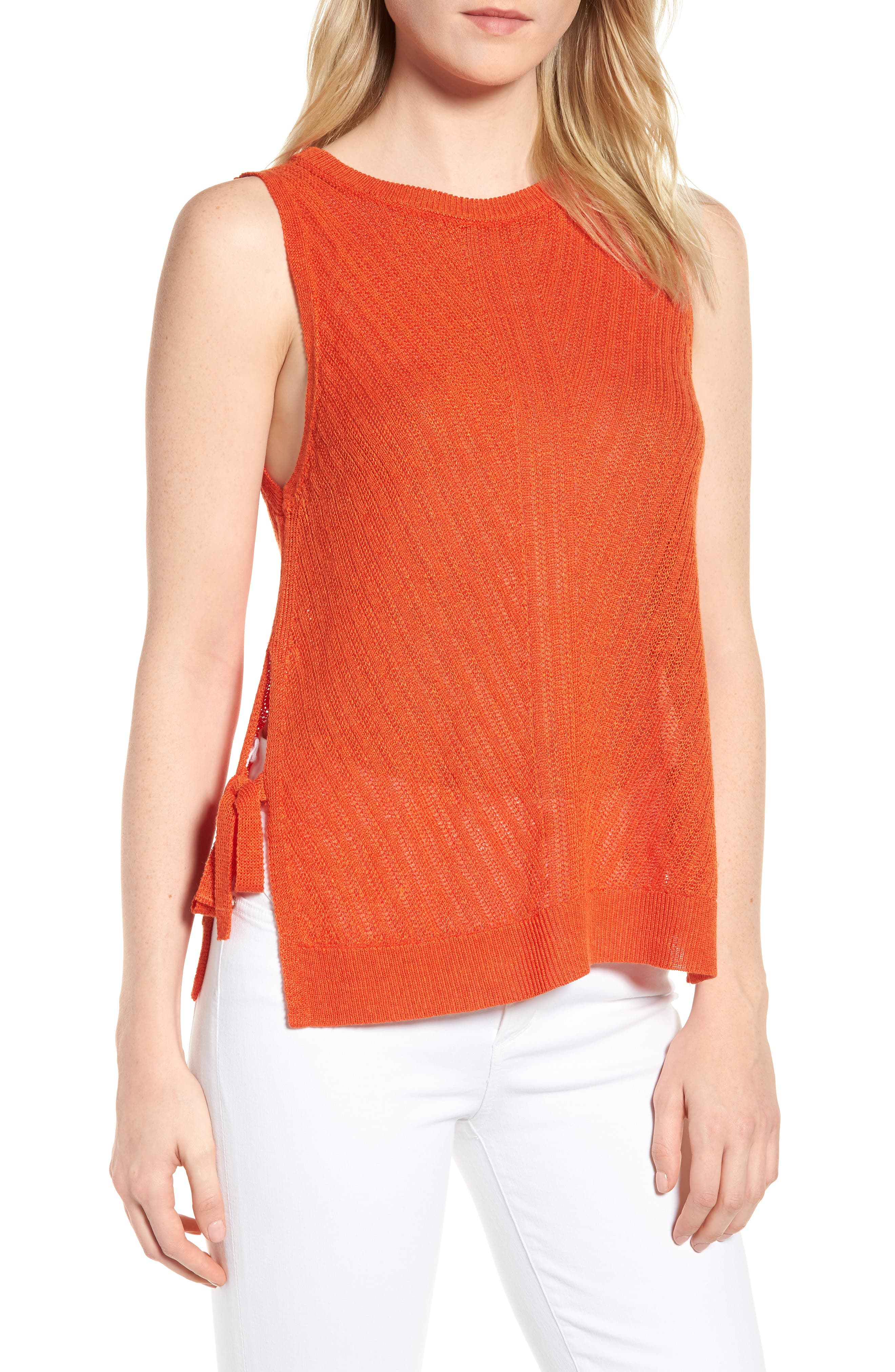 Side Tie Tank Sweater,                             Main thumbnail 1, color,                             Red Clay