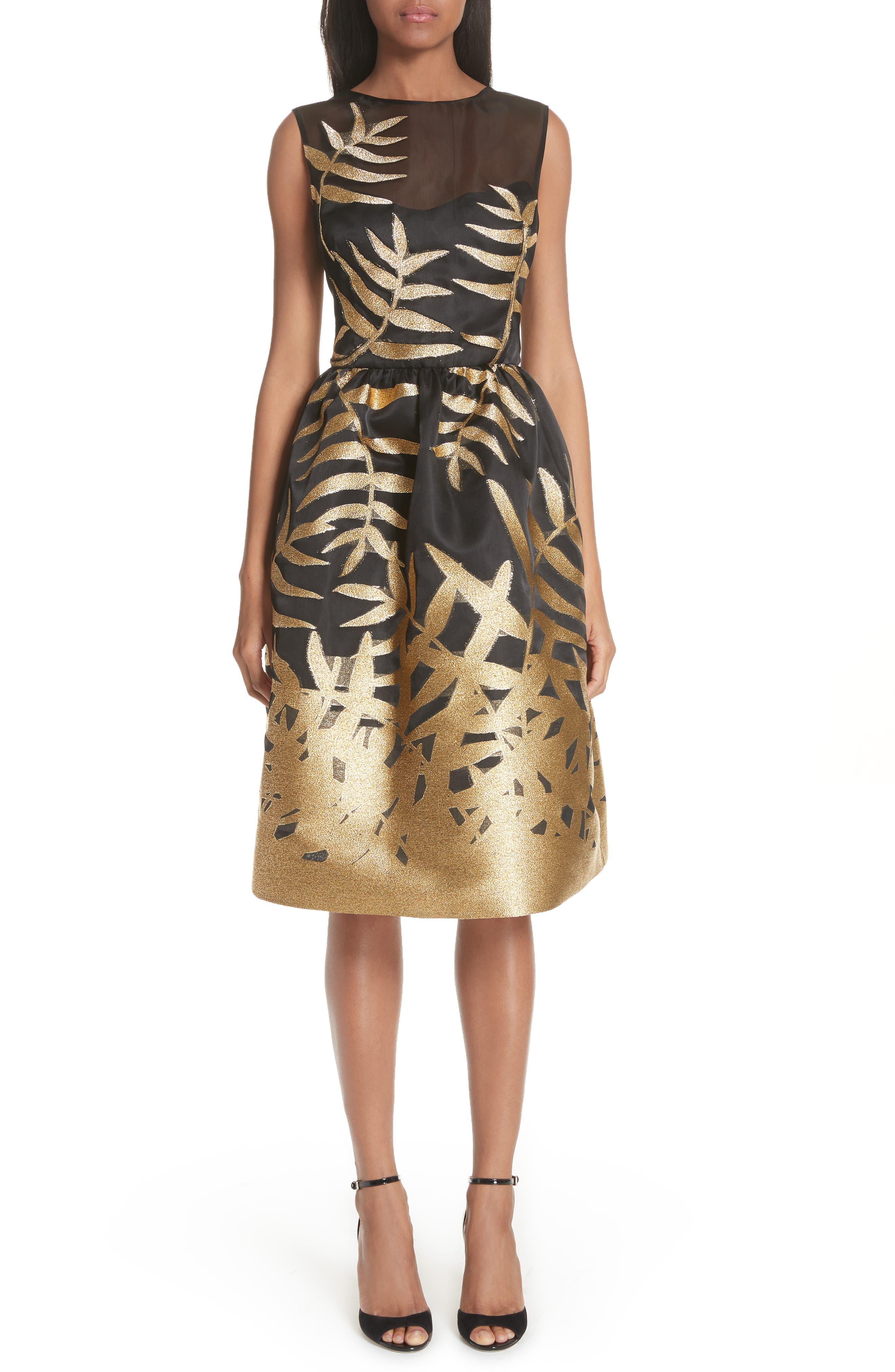 Main Image - Oscar de la Renta Glitter Fil Coupé Dress