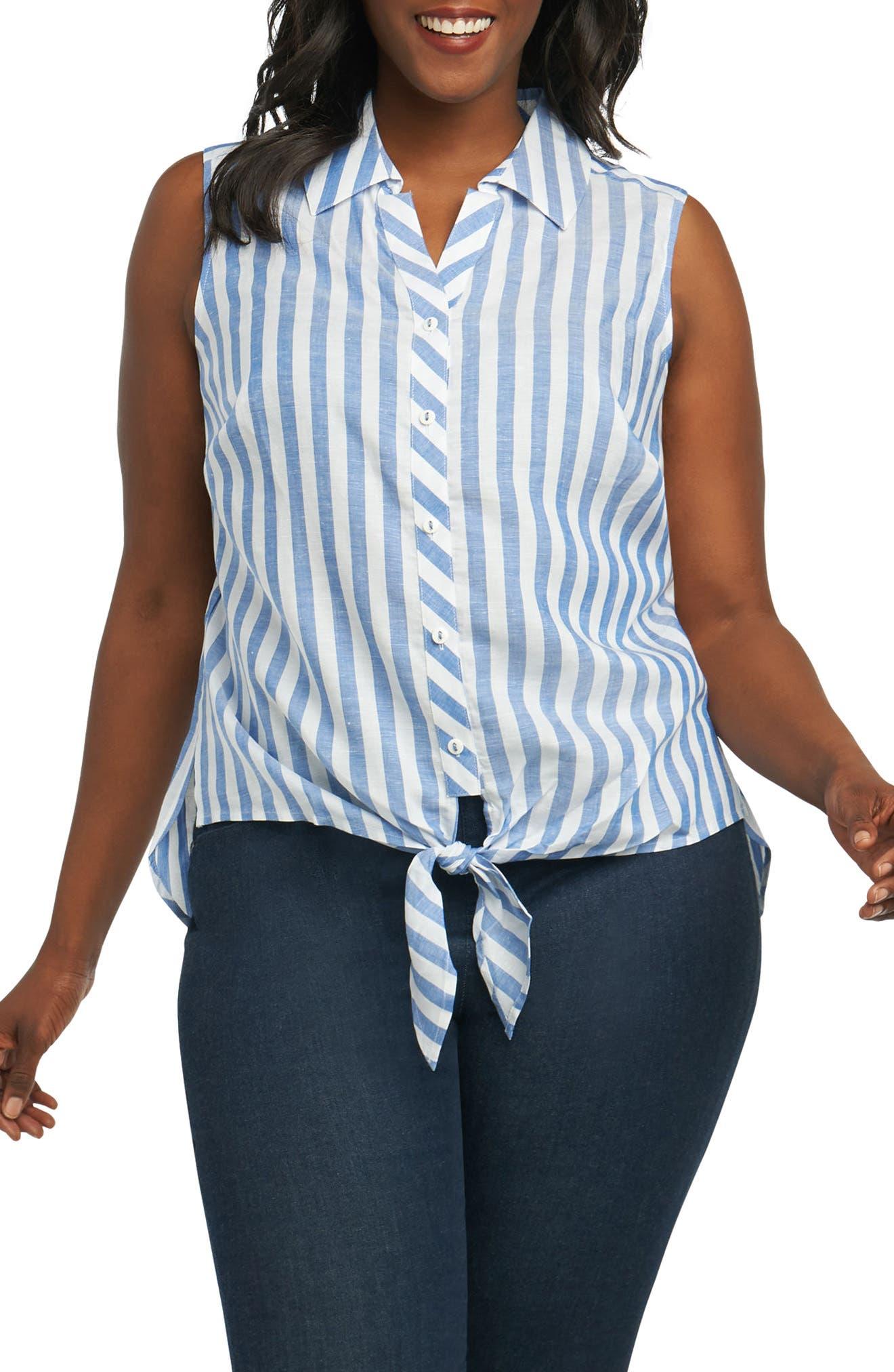 Foxcroft Lila Stripe Tie Hem Top (Plus Size)