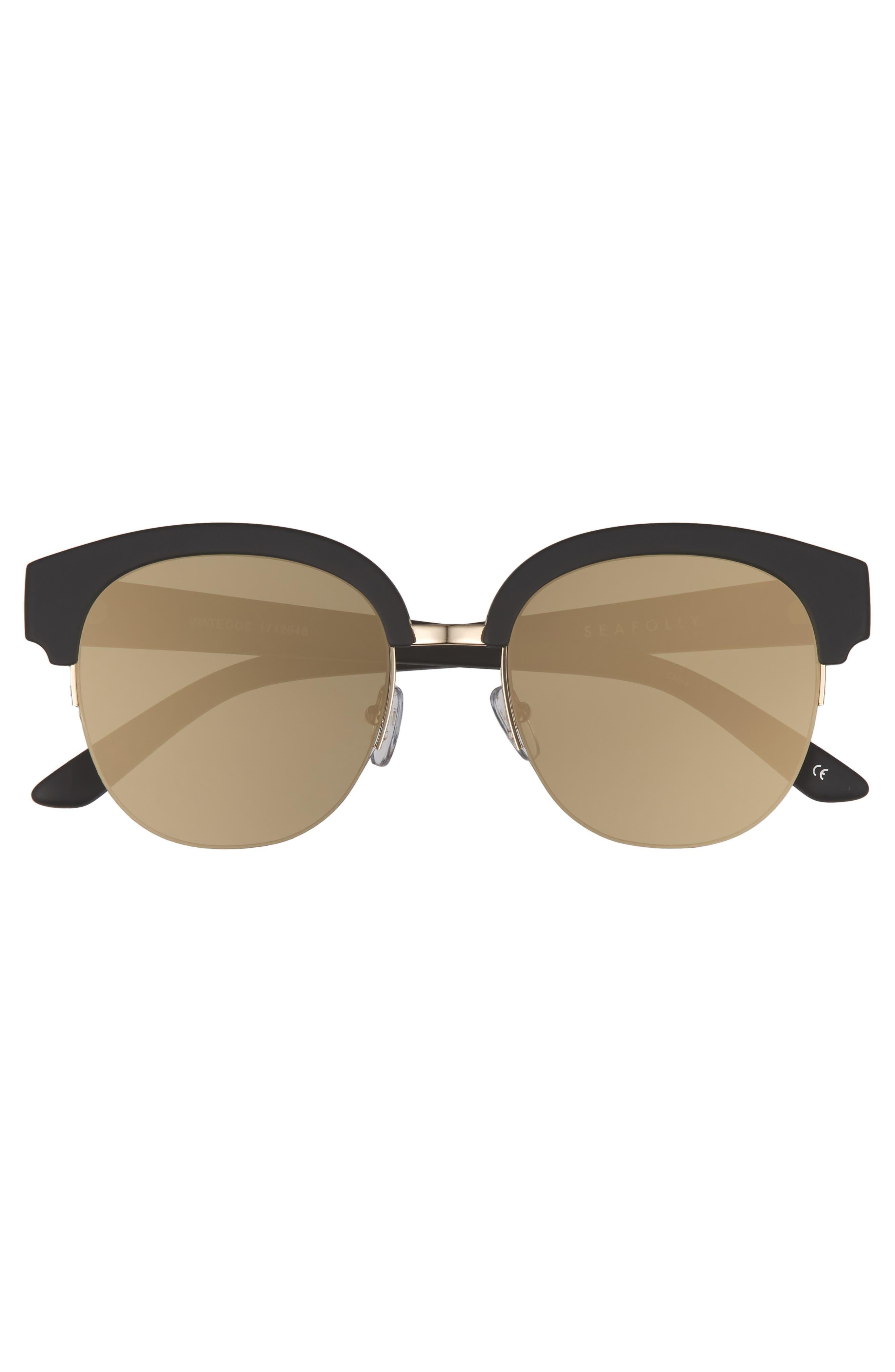 Wategos 53mm Cat Eye Sunglasses,                             Alternate thumbnail 3, color,                             Black