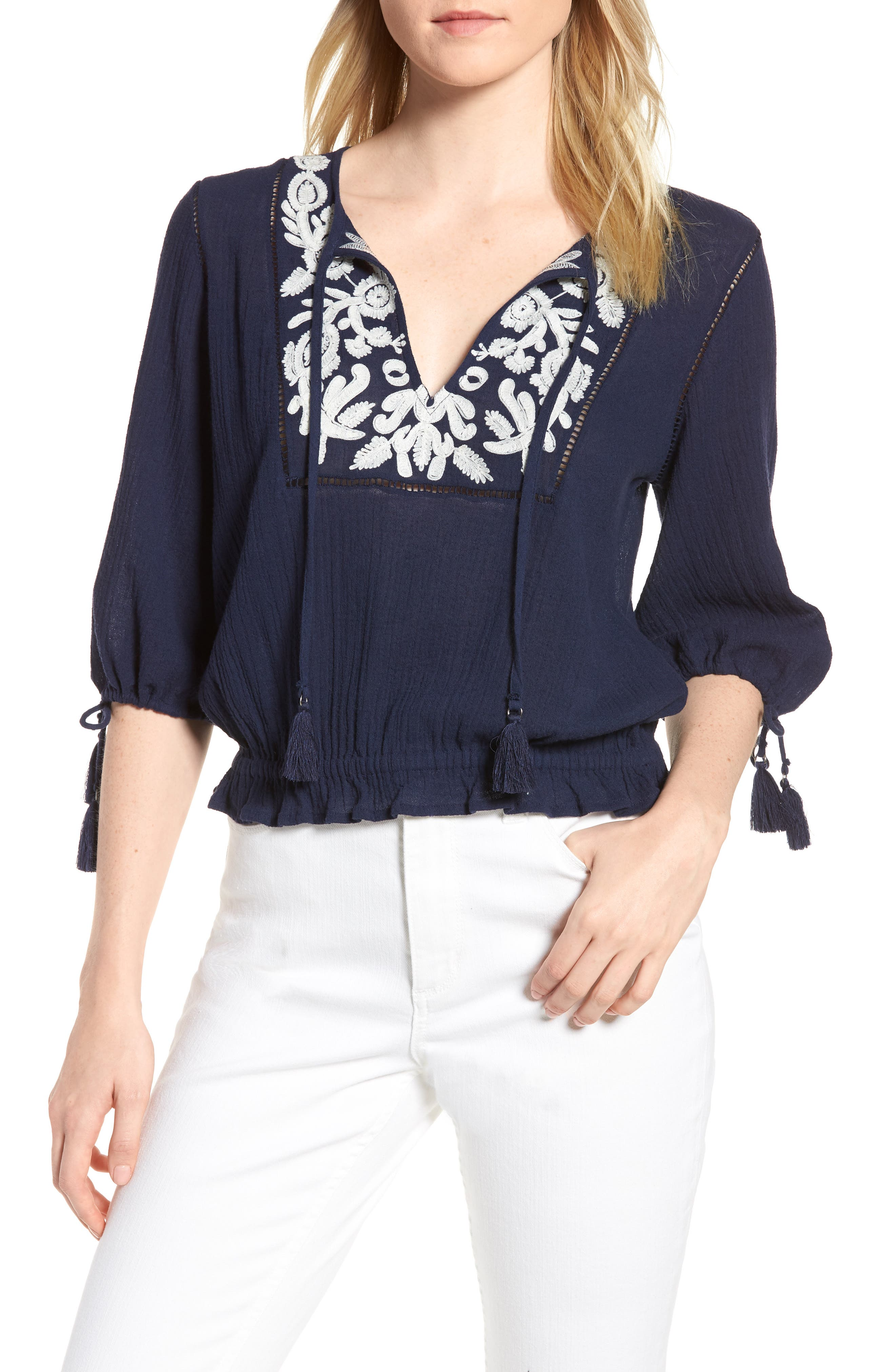Embroidered Cotton Tassel Top,                             Main thumbnail 1, color,                             American Navy