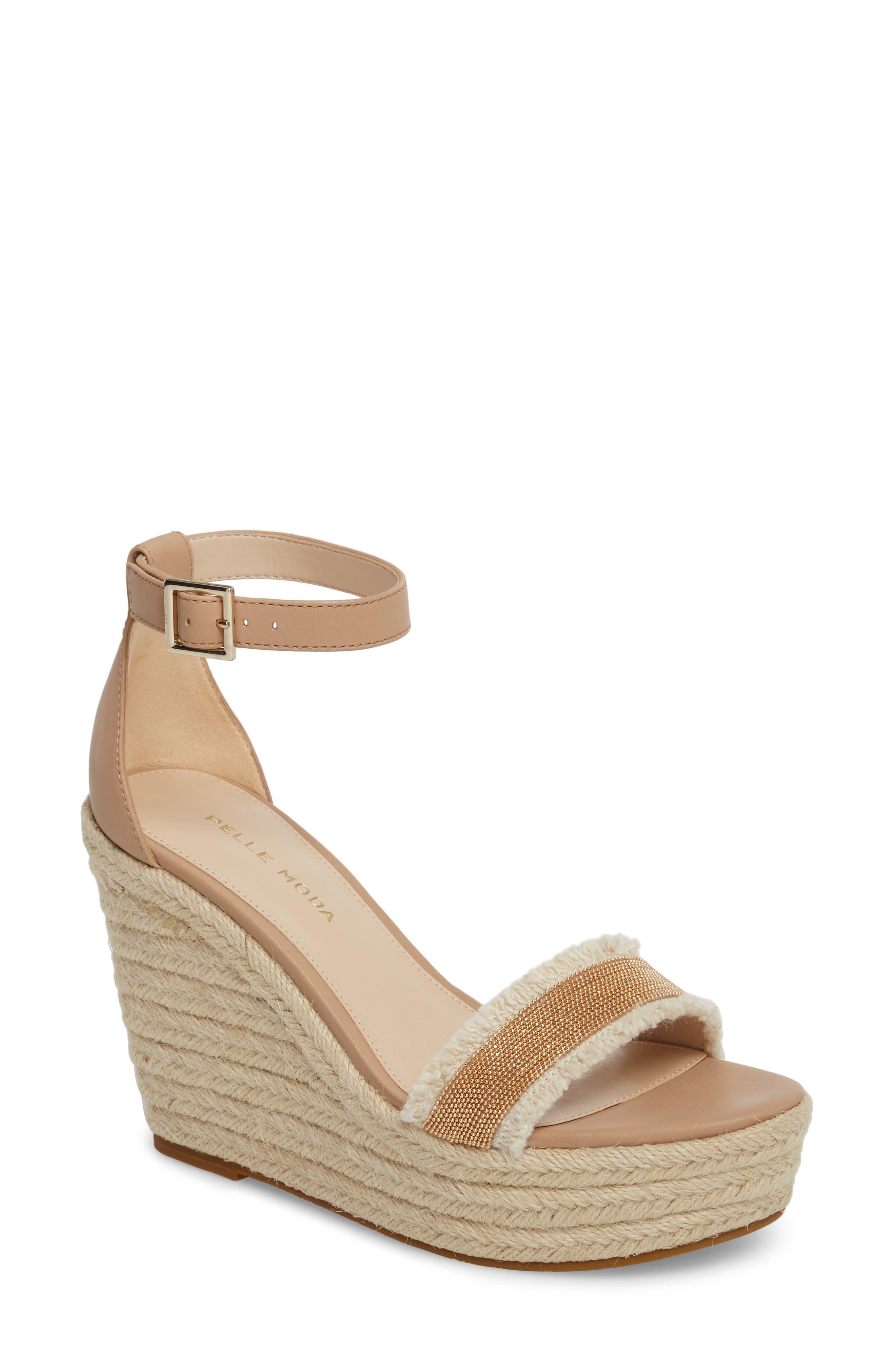Radley Espadrille Wedge Sandal,                             Main thumbnail 1, color,                             Sand Leather