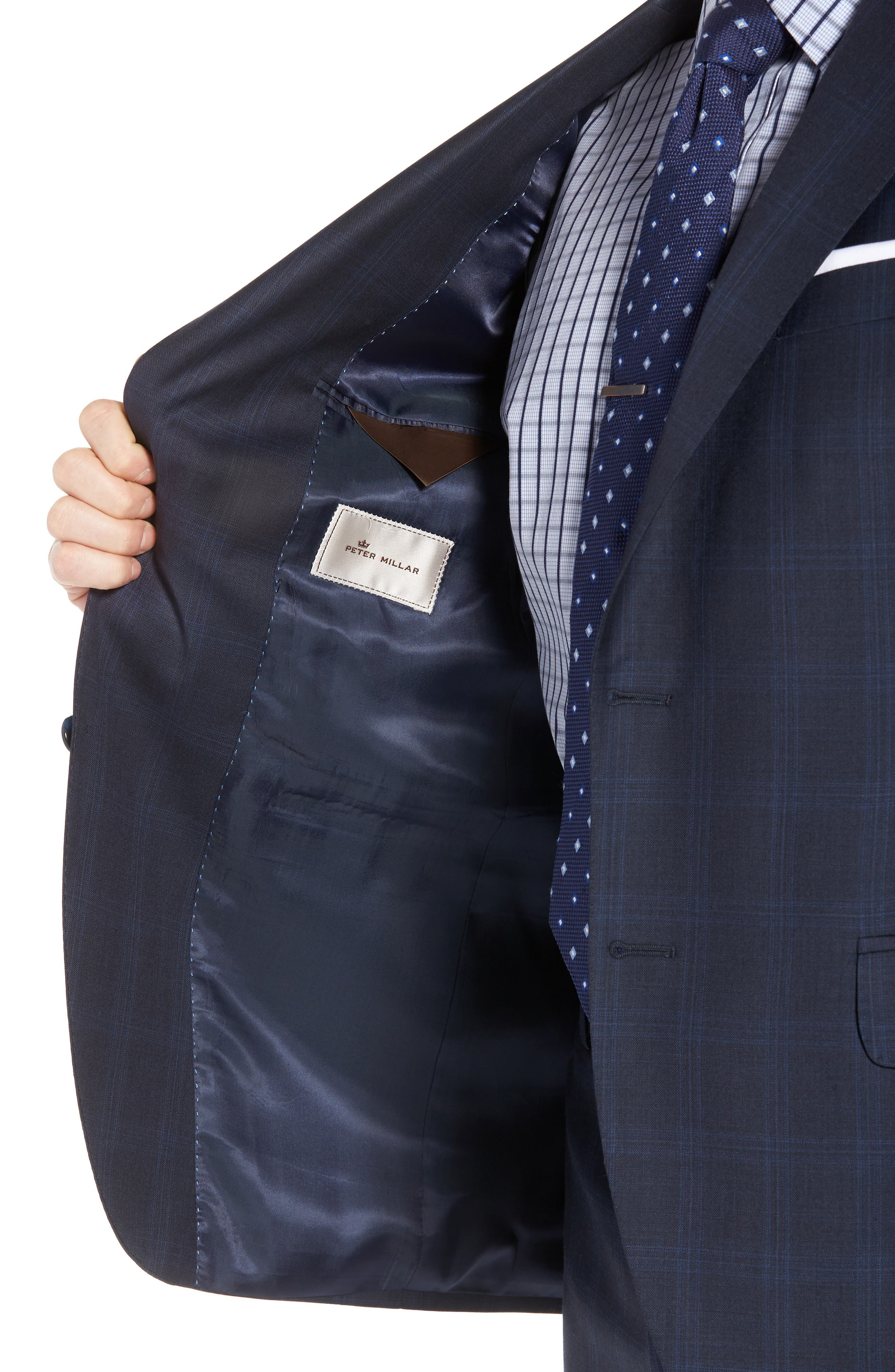 Classic Fit Plaid Wool Suit,                             Alternate thumbnail 4, color,                             Navy