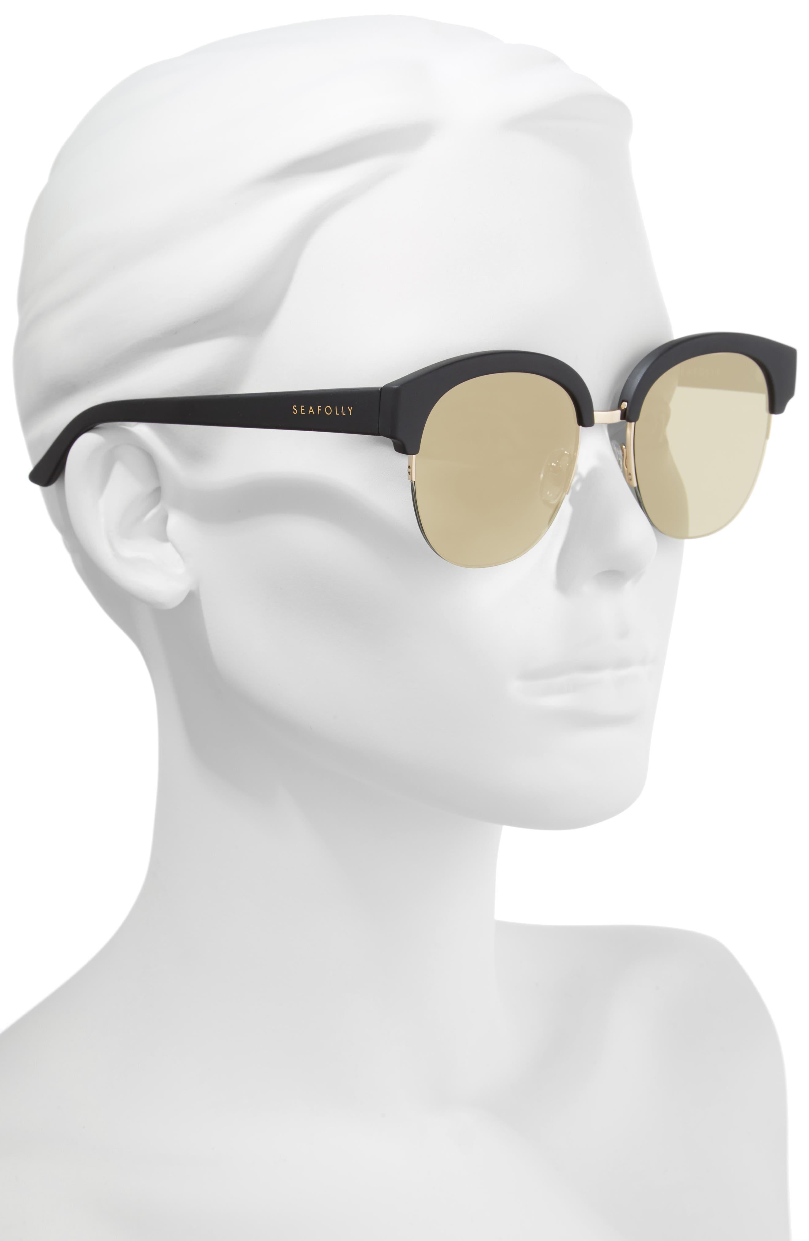 Wategos 53mm Cat Eye Sunglasses,                             Alternate thumbnail 2, color,                             Black