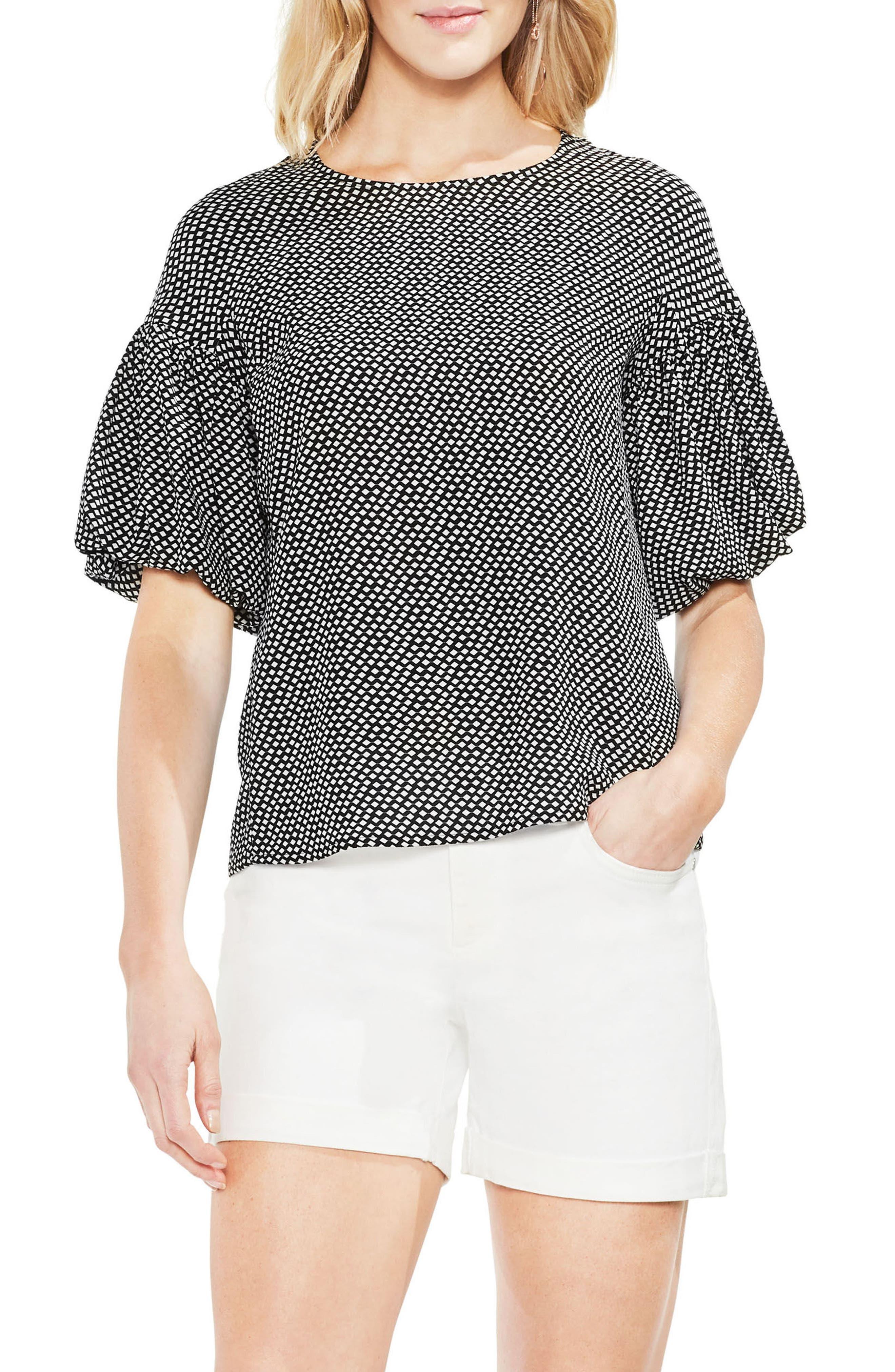 Cabana Bubble Sleeve Blouse,                         Main,                         color, Rich Black