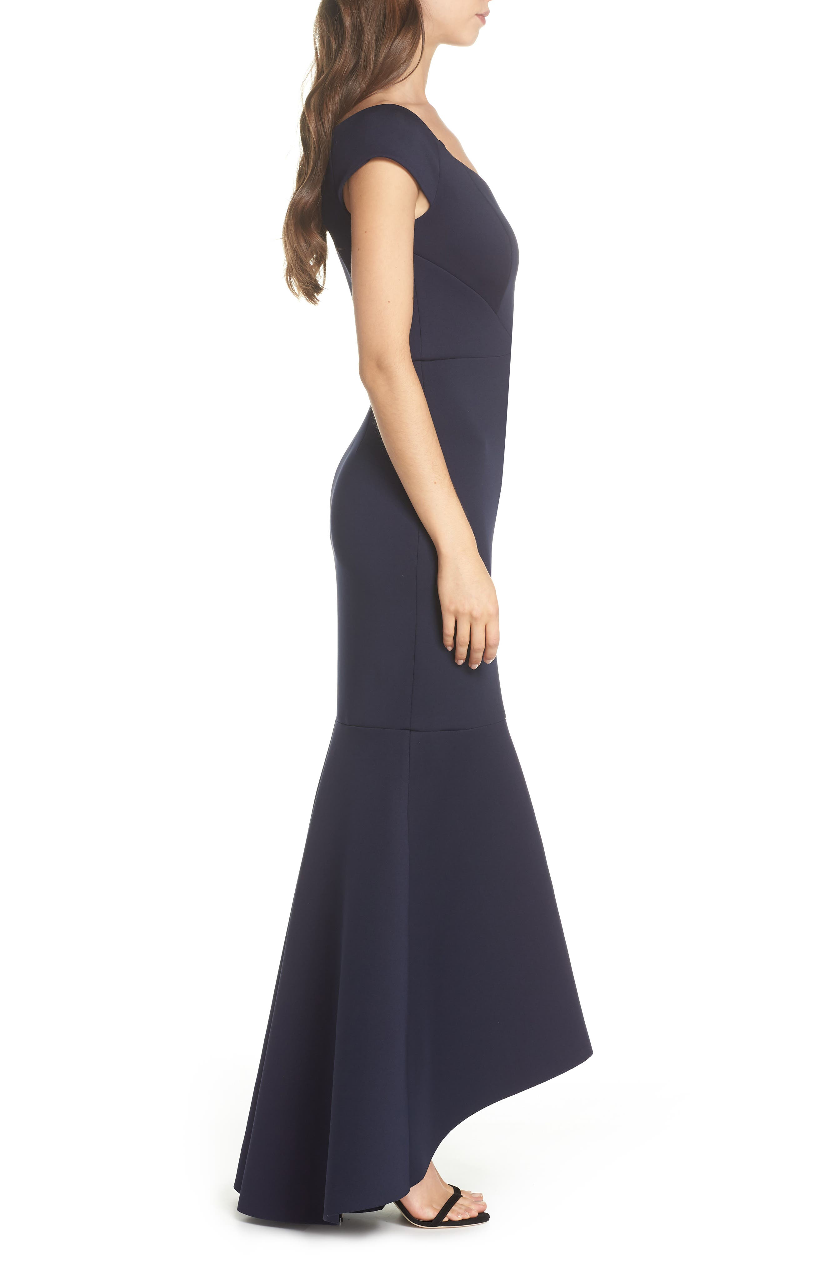 Off the Shoulder Trumpet Gown,                             Alternate thumbnail 3, color,                             Navy