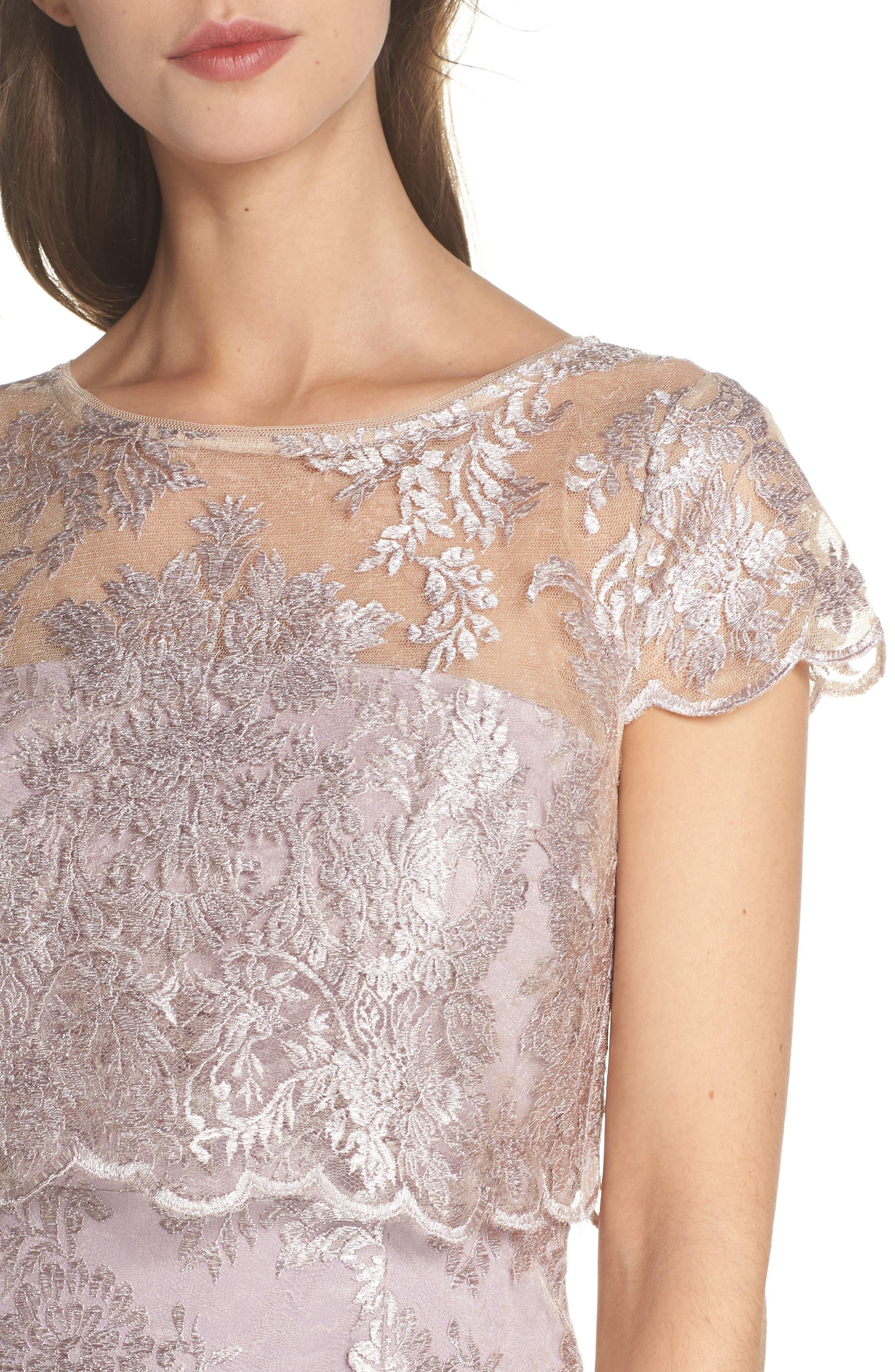 Scallop Edge Popover Sheath Dress,                             Alternate thumbnail 4, color,                             Lily Rose