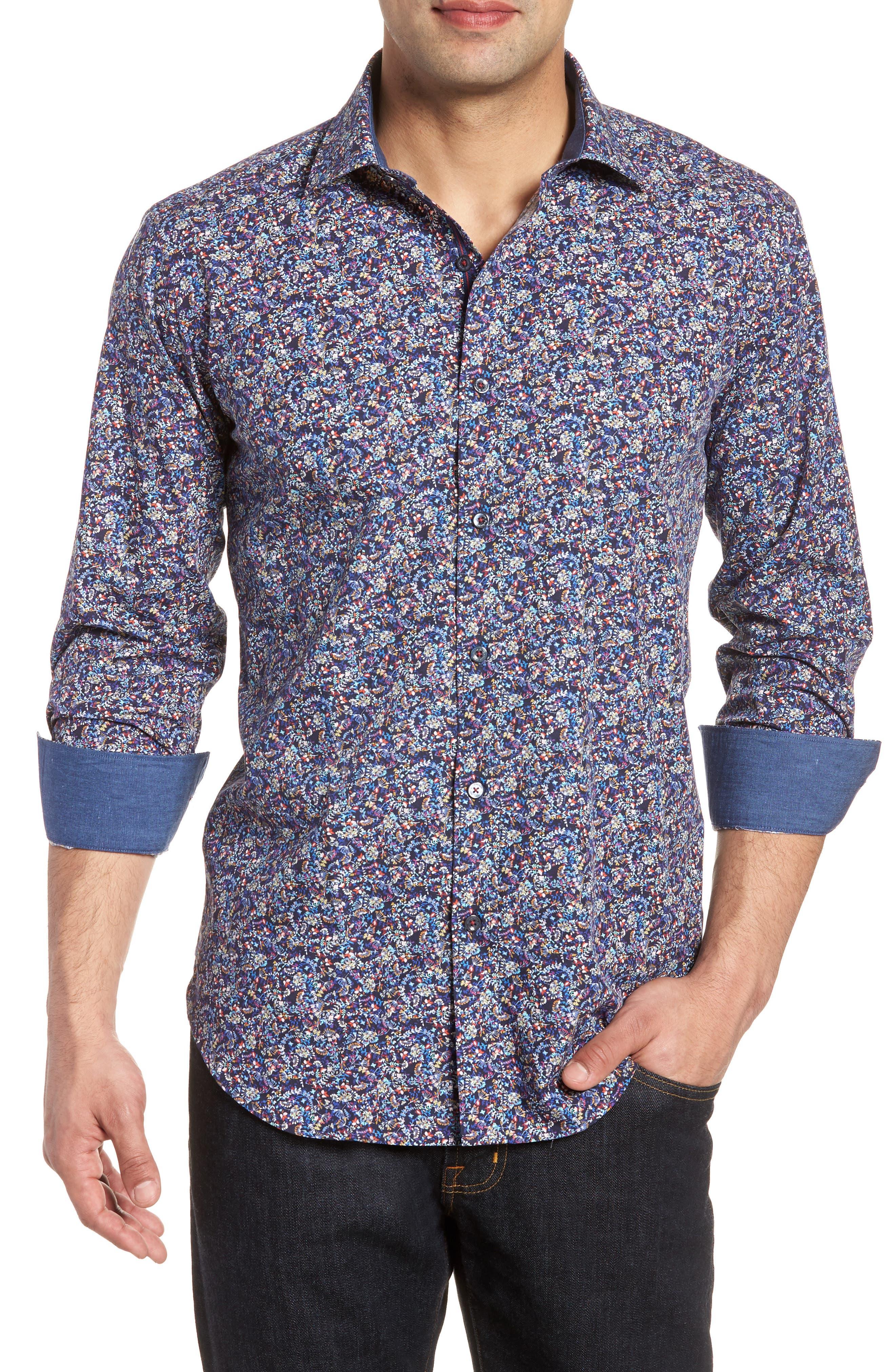 Bugatchi Midnight Bloom Shaped Fit Sport Shirt
