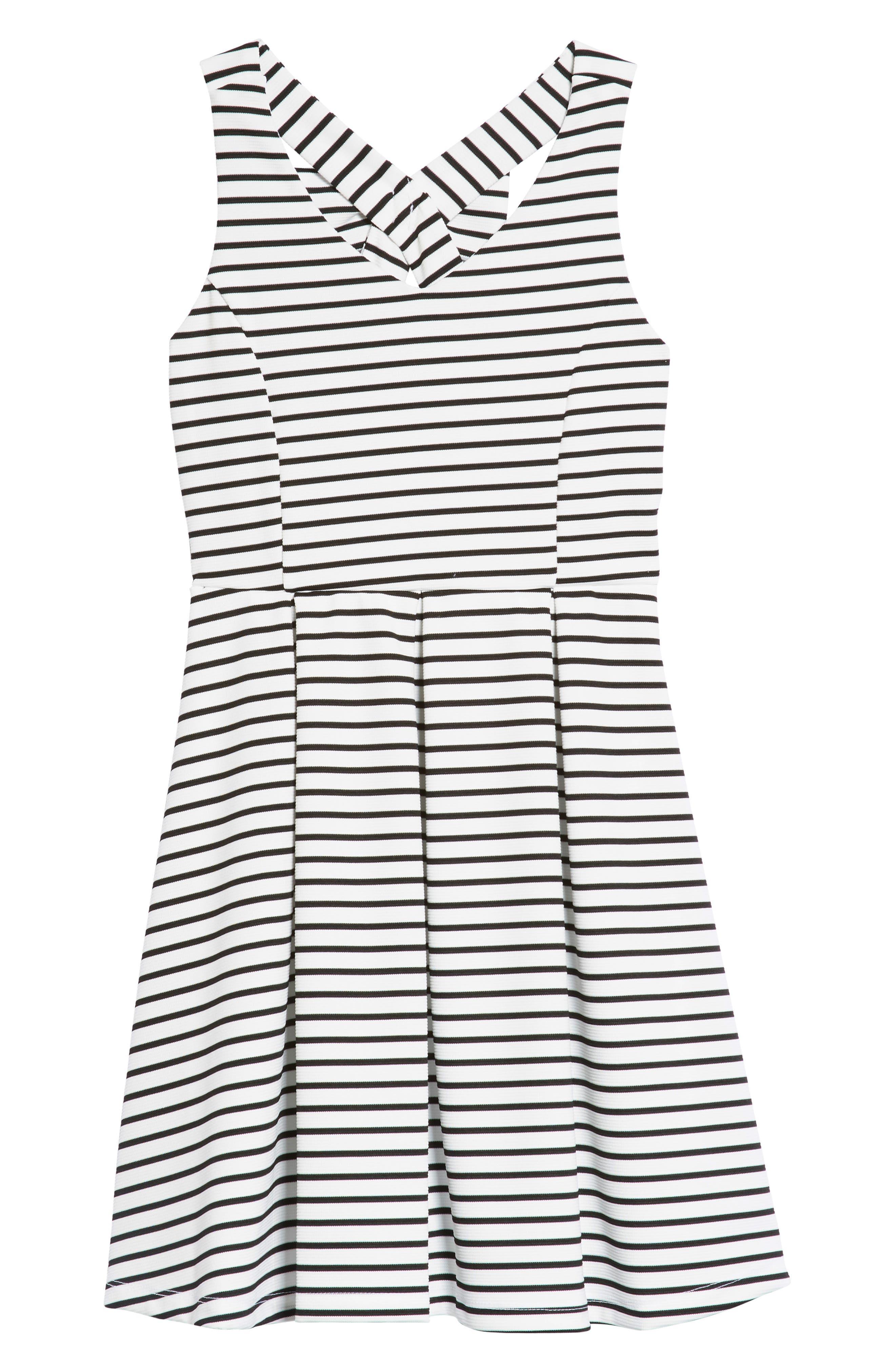 Rib Stripe Skater Dress,                             Main thumbnail 1, color,                             White/ Black