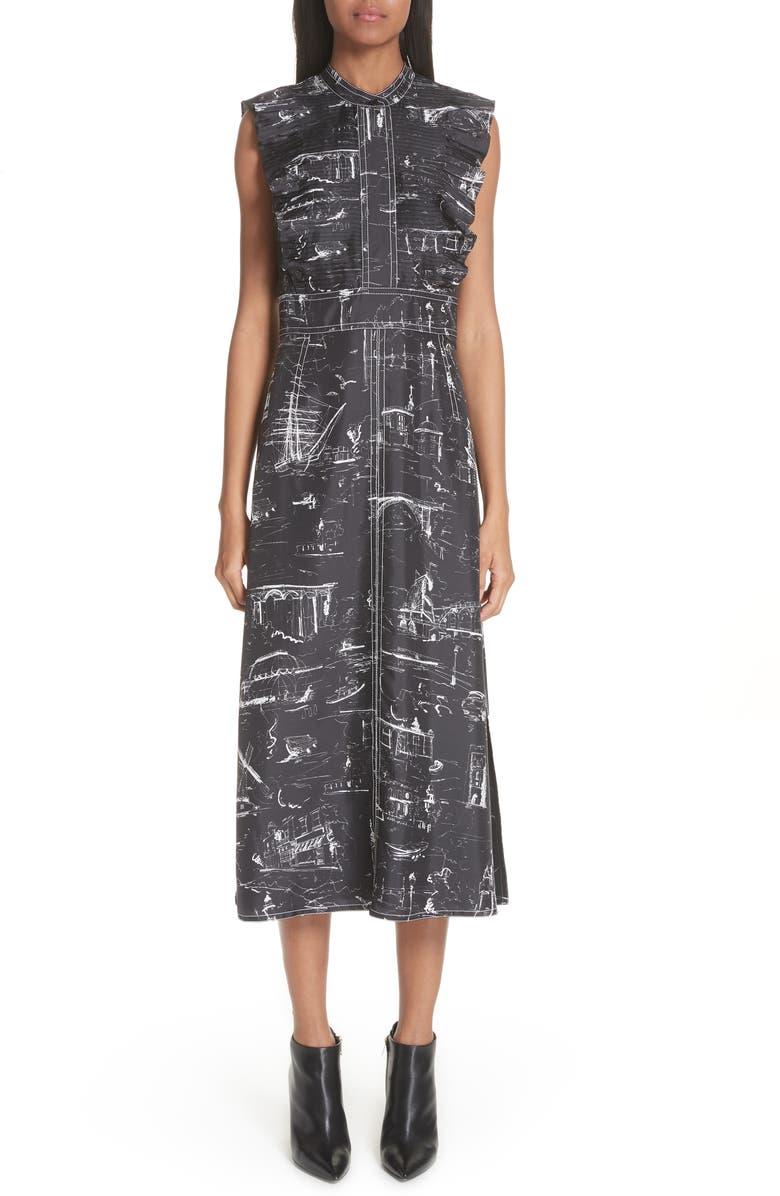 Parker Landmark Print Silk Dress