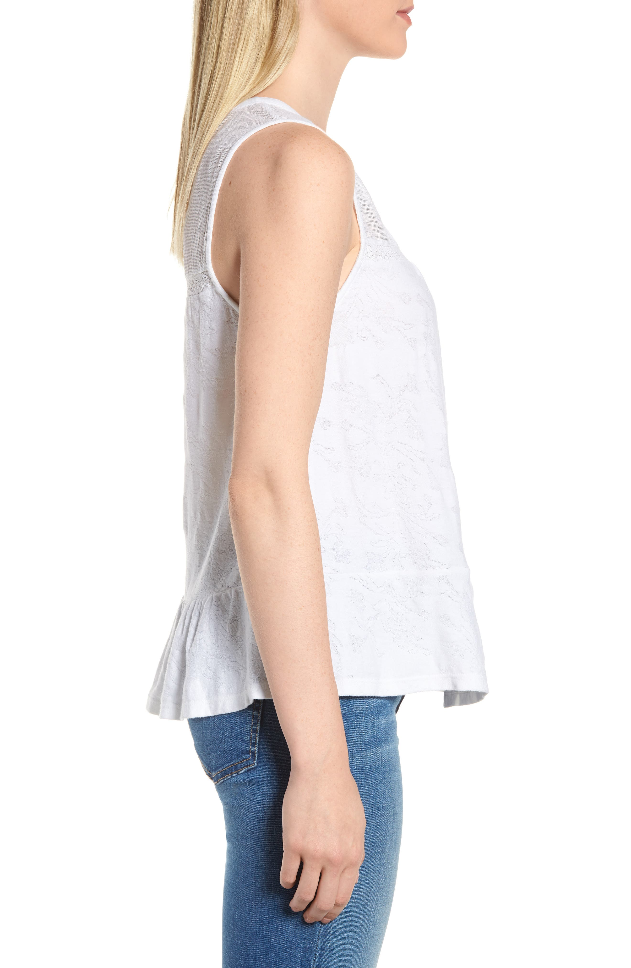 Tiered Jacquard Tank Top,                             Alternate thumbnail 3, color,                             Lucky White