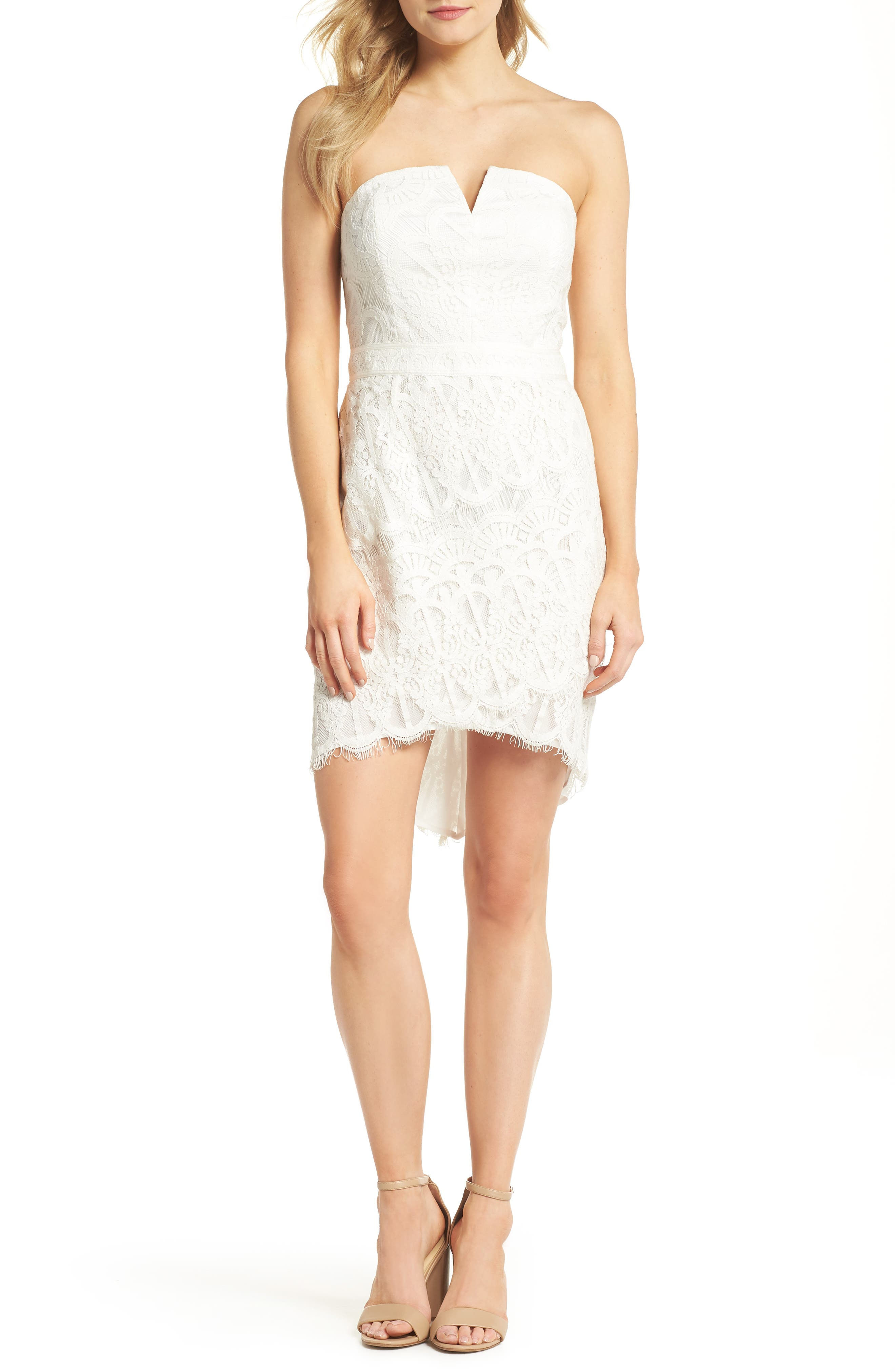 Strapless Lace Dress,                         Main,                         color, White