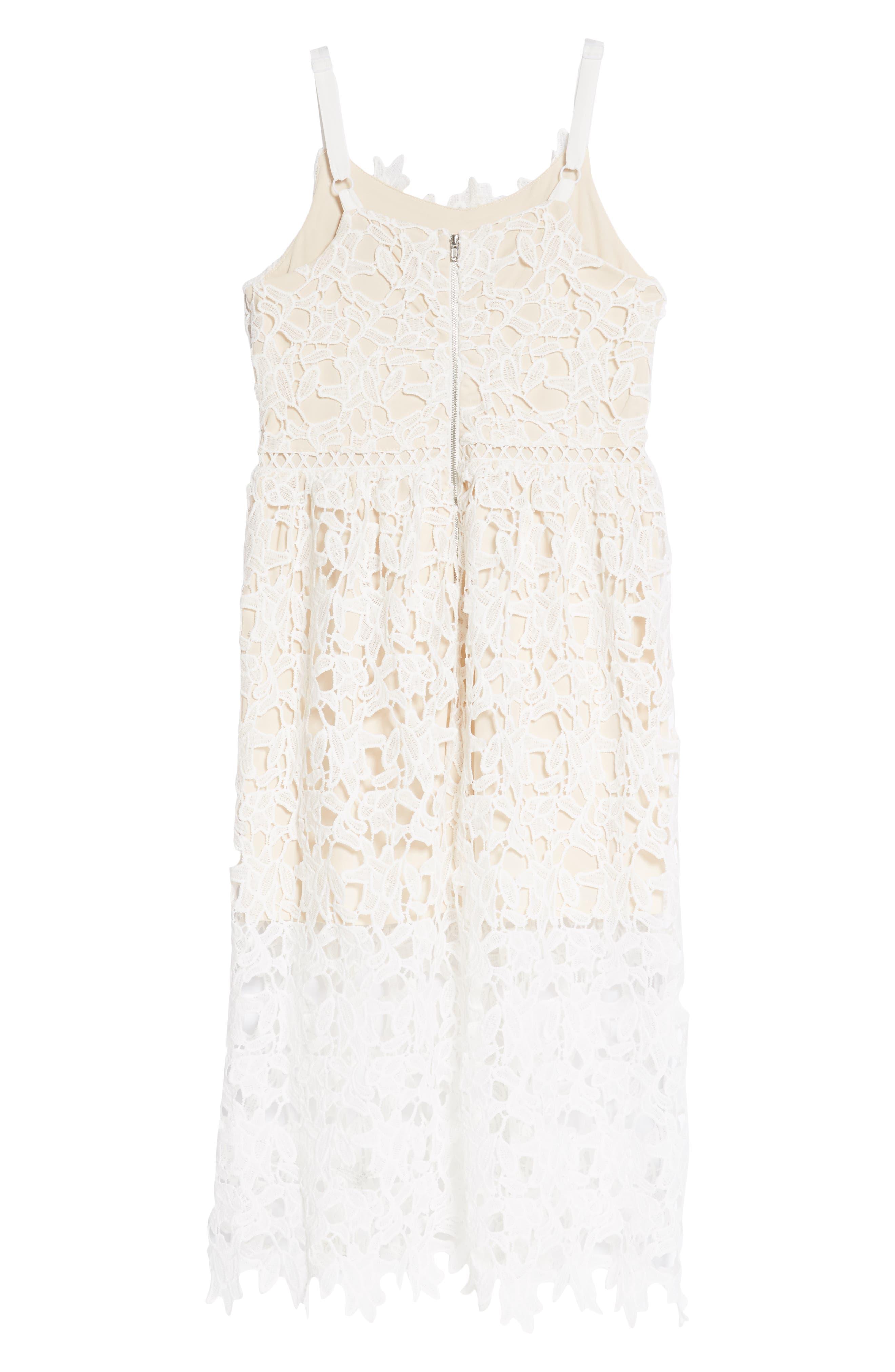 Floral Lace Dress,                             Alternate thumbnail 2, color,                             White/ Tan