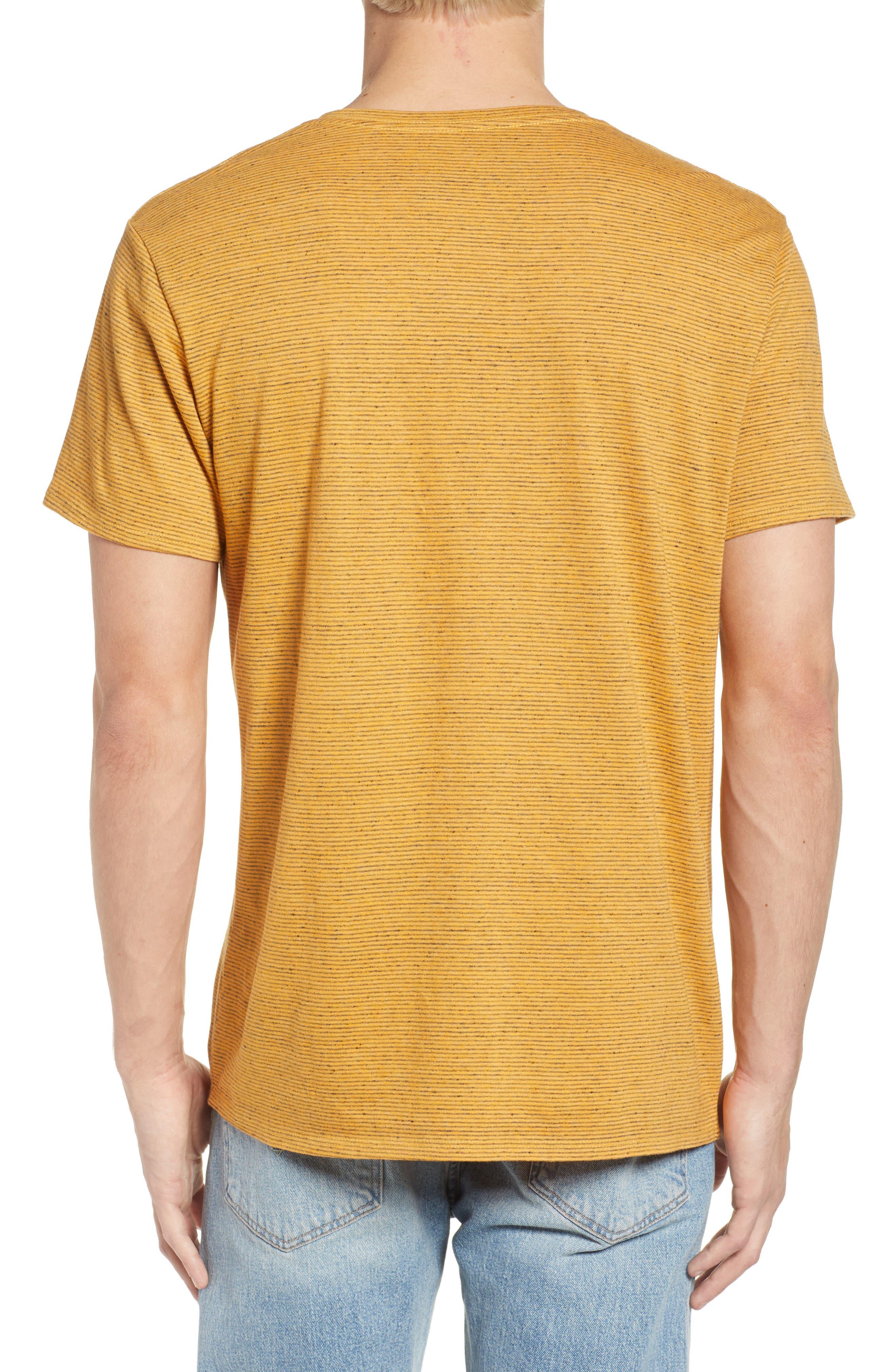 Fine Stripe V-Neck T-Shirt,                             Alternate thumbnail 2, color,                             Orange Lantana Heather Stripe