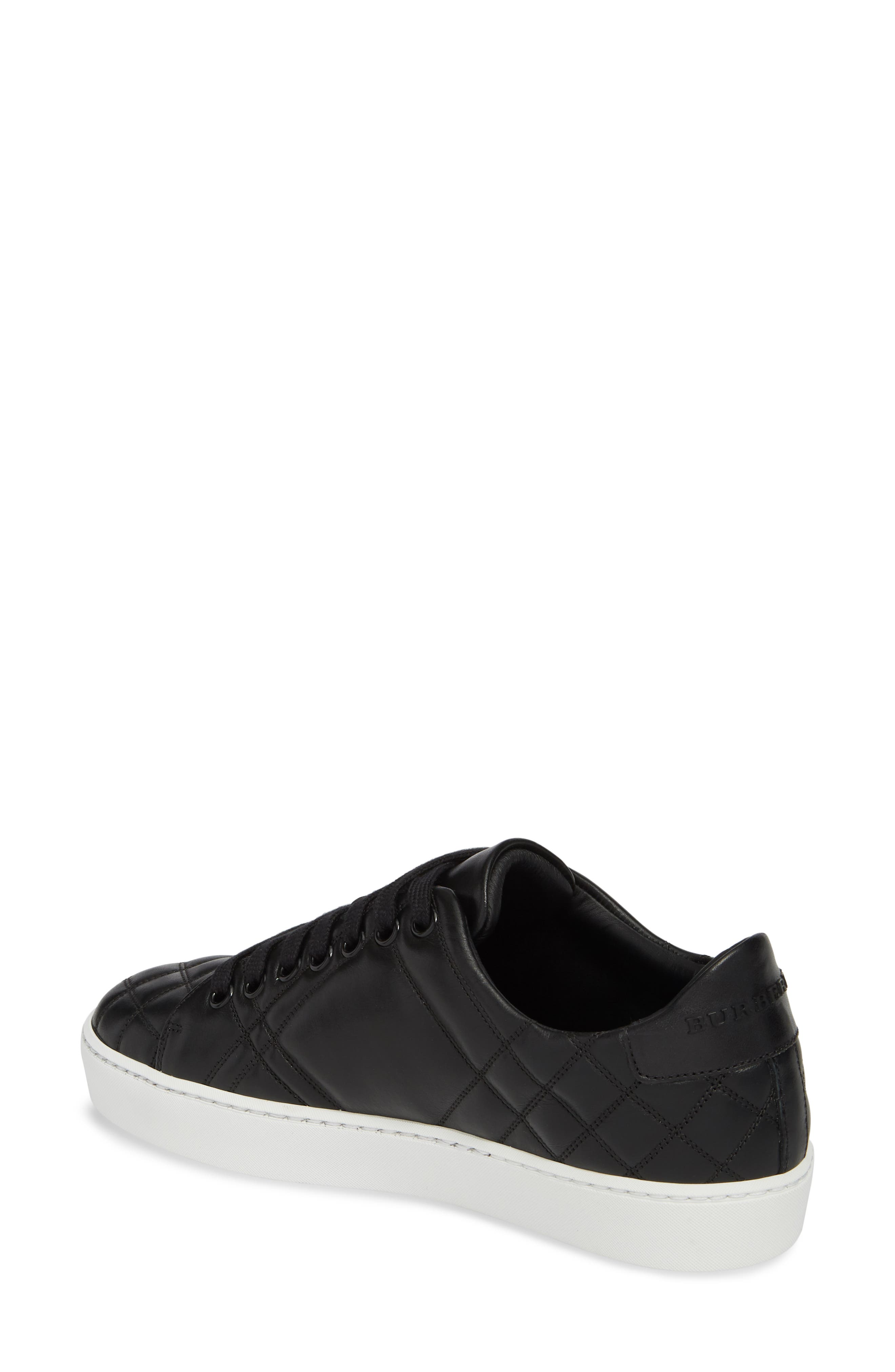 Check Quilted Leather Sneaker,                             Alternate thumbnail 2, color,                             Black Leather