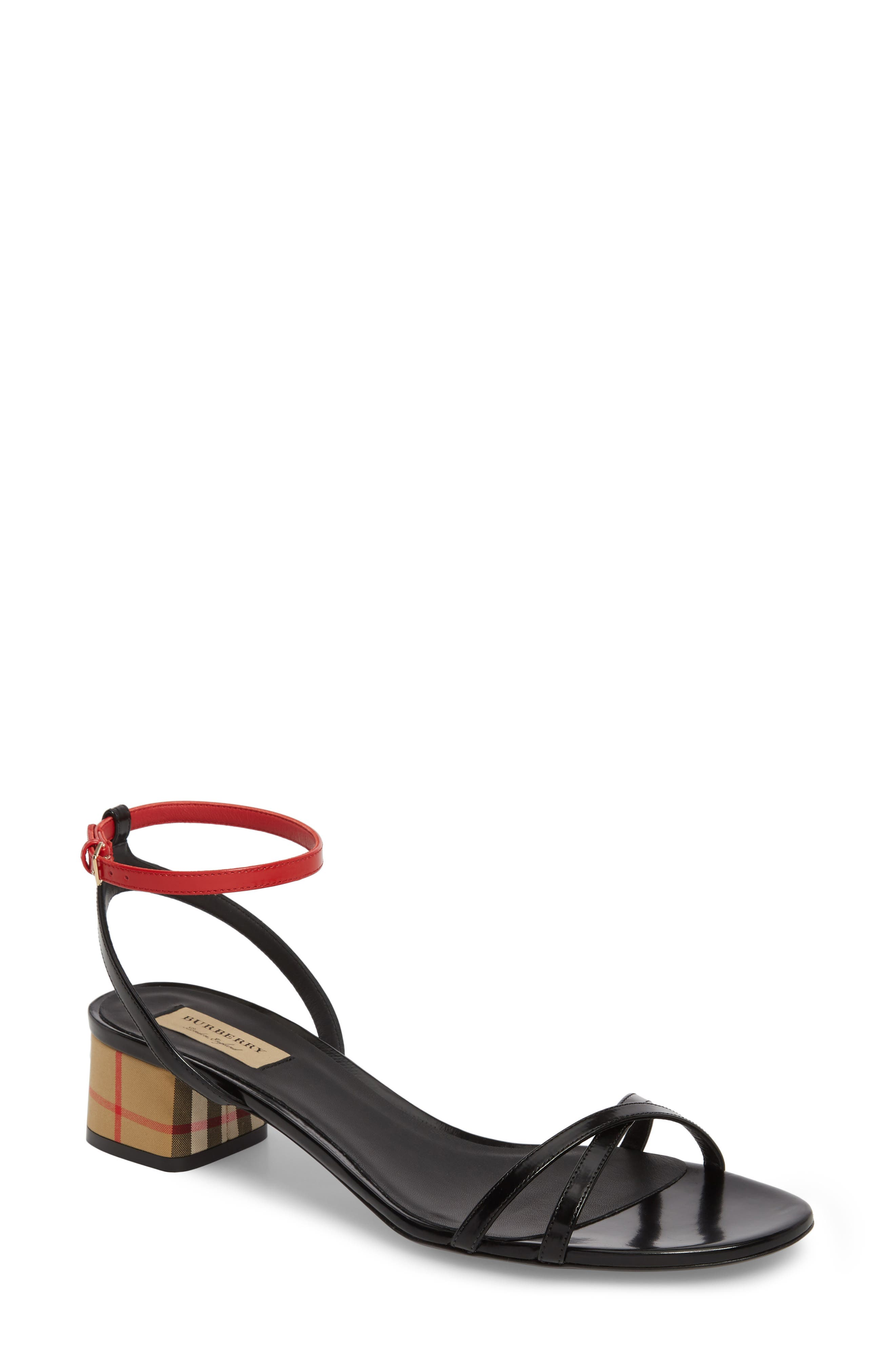 Anthea Check Ankle Strap Sandal,                             Main thumbnail 1, color,                             Black