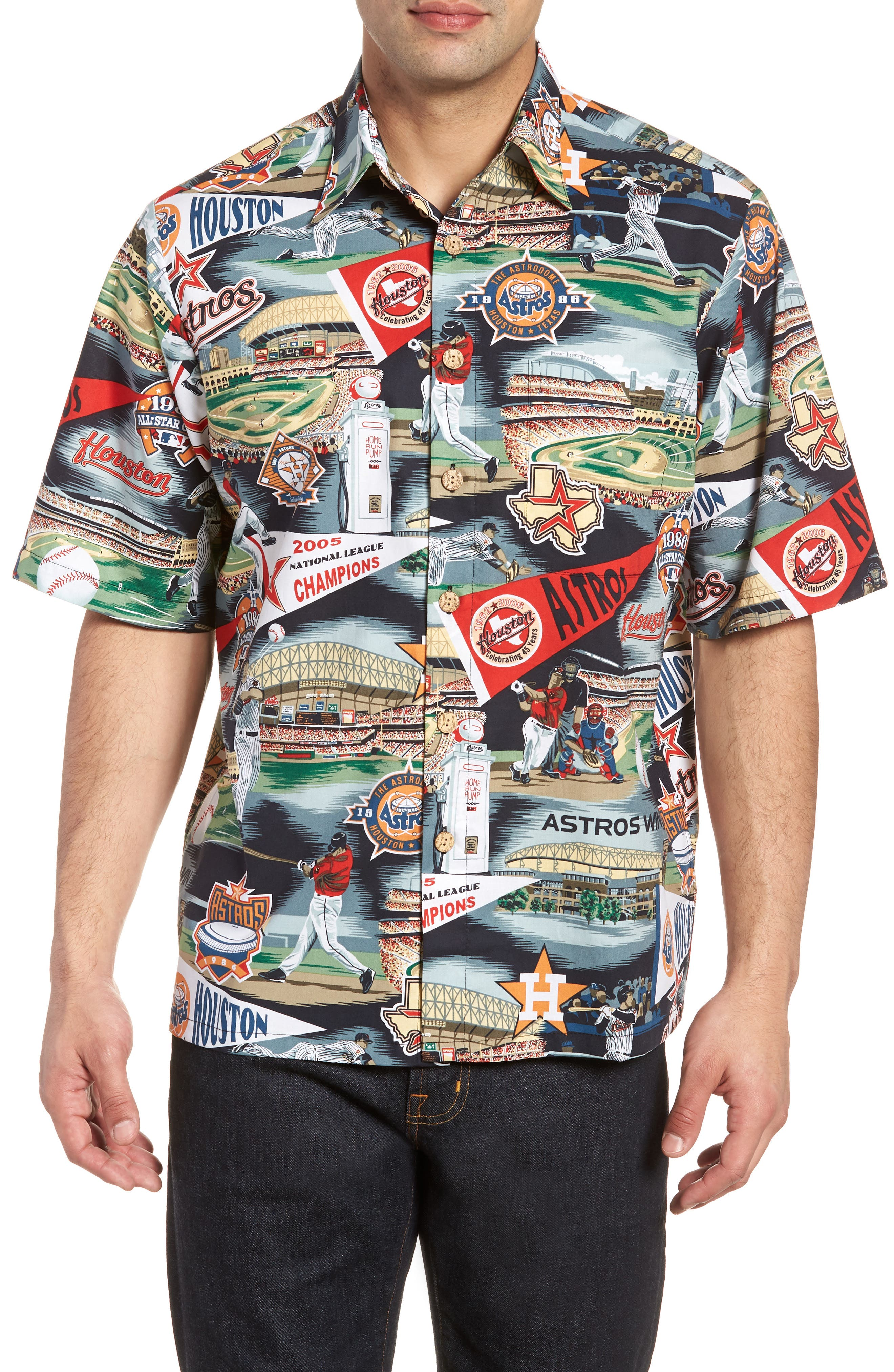 Houston Astros Classic Fit Camp Shirt,                         Main,                         color, Scenic