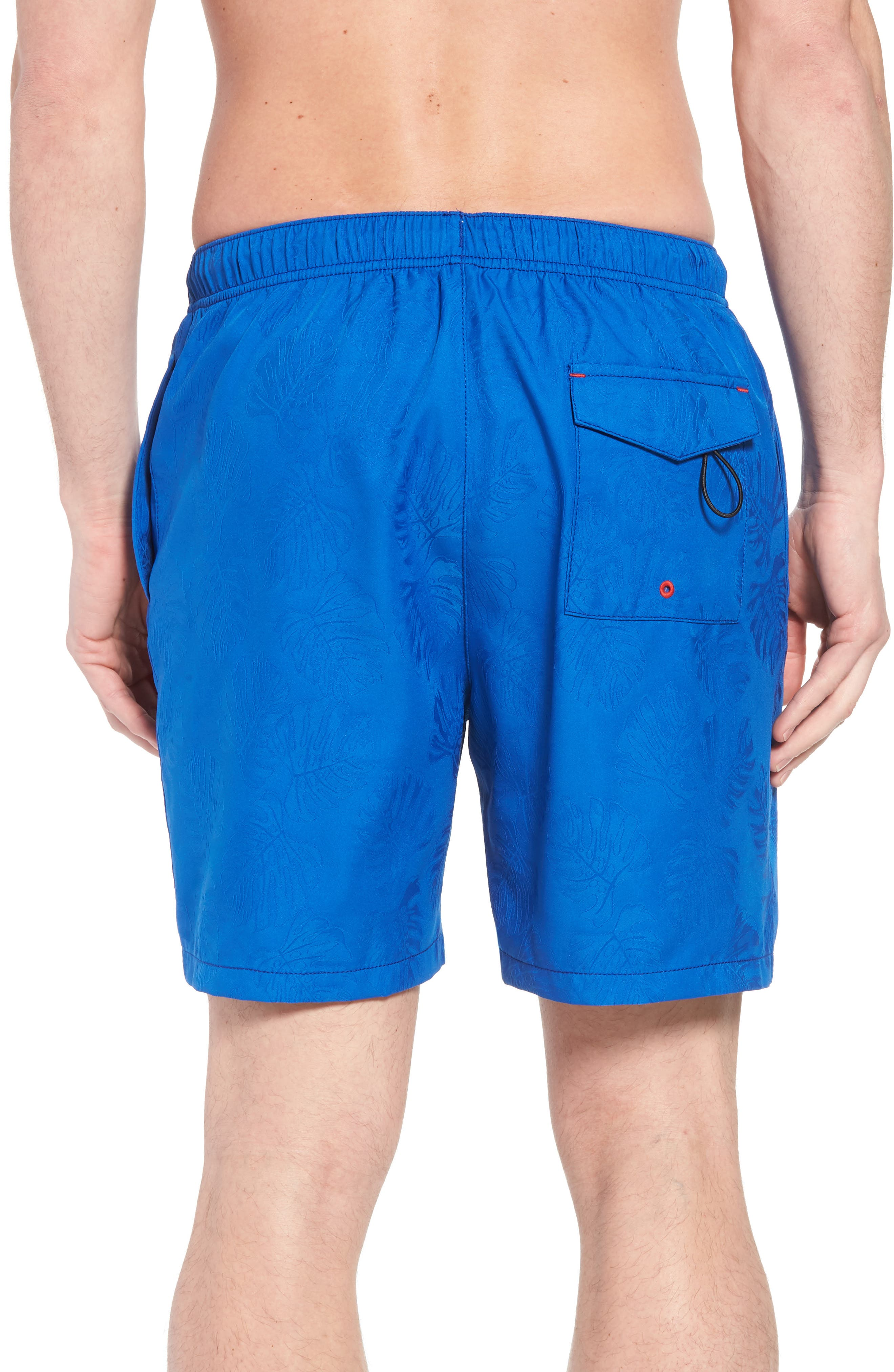 Naples Midnight Monstera Swim Trunks,                             Alternate thumbnail 2, color,                             Cobalt Sea