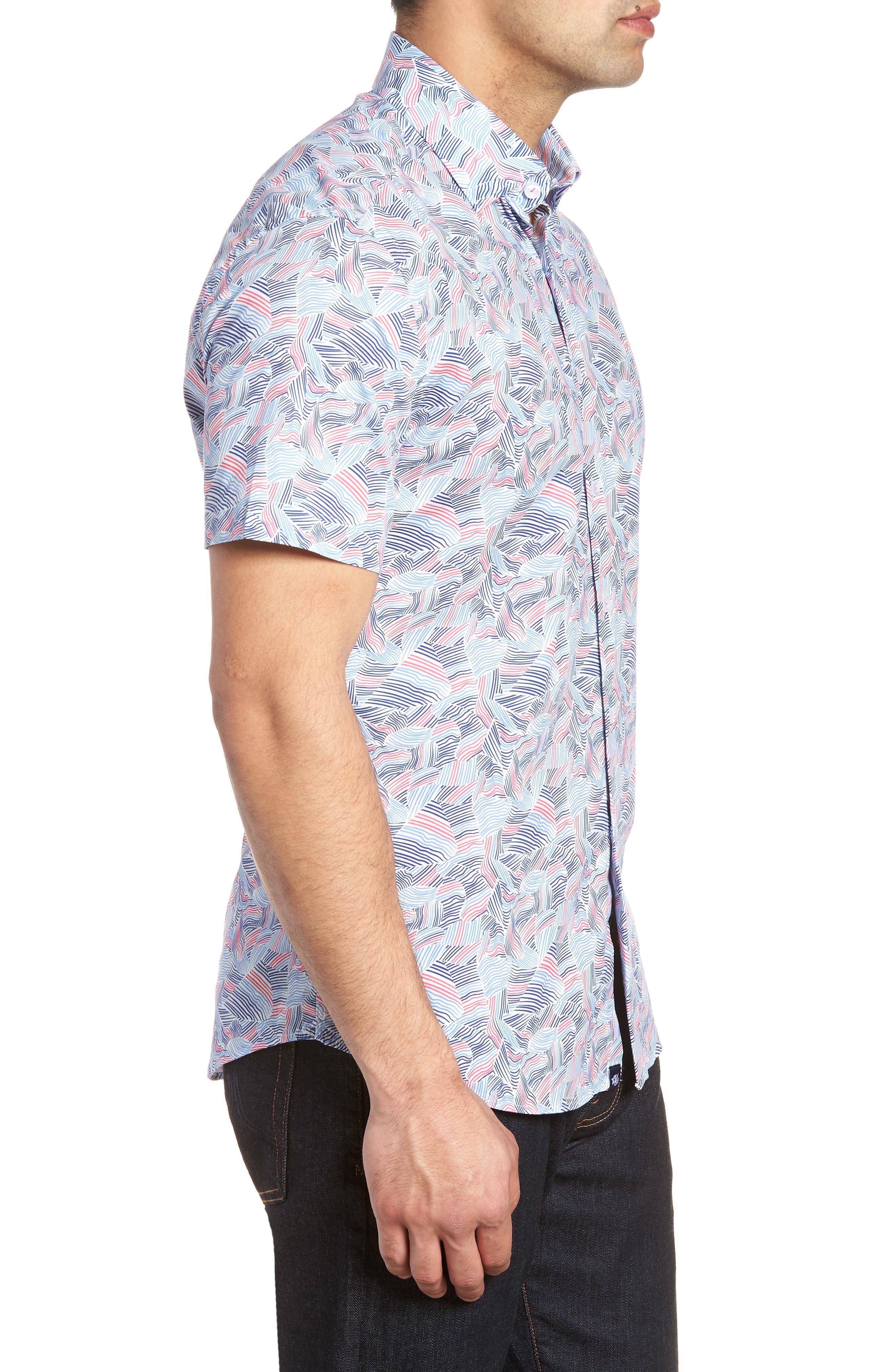 Contemporary Fit Wave Print Sport Shirt,                             Alternate thumbnail 3, color,                             Pink