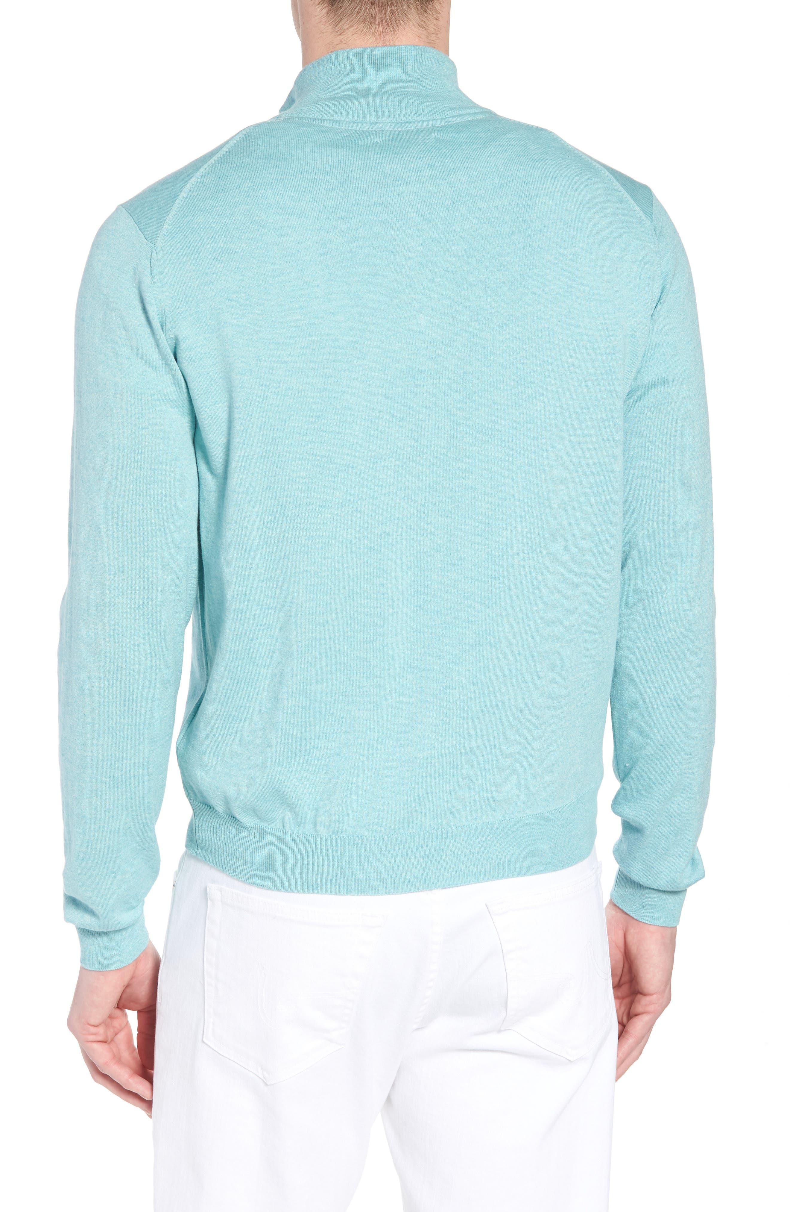Cotton & Silk Quarter Zip Pullover,                             Alternate thumbnail 2, color,                             Seafoam