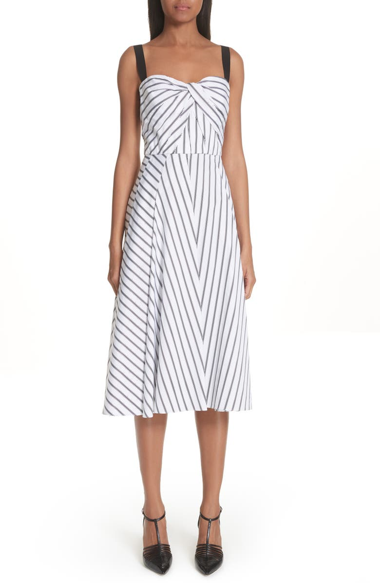 Dobby Stripe Cotton Poplin A-Line Dress