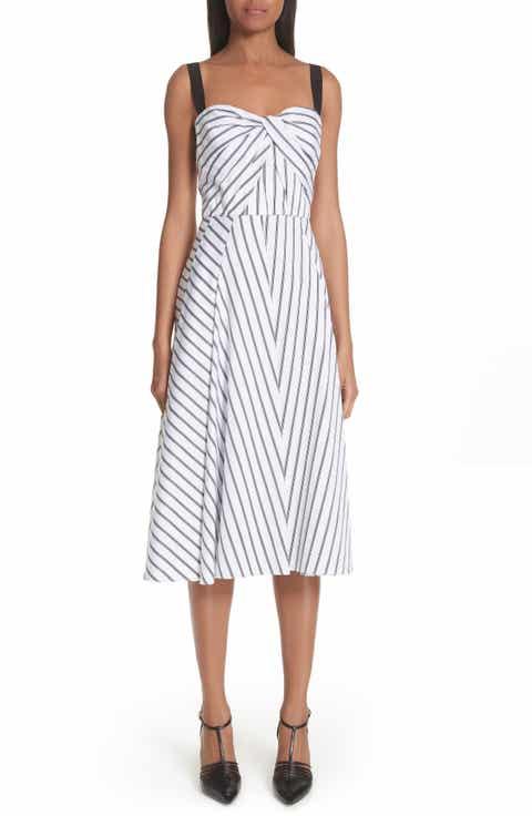 Jason Wu Dobby Stripe Cotton Poplin A-Line Dress