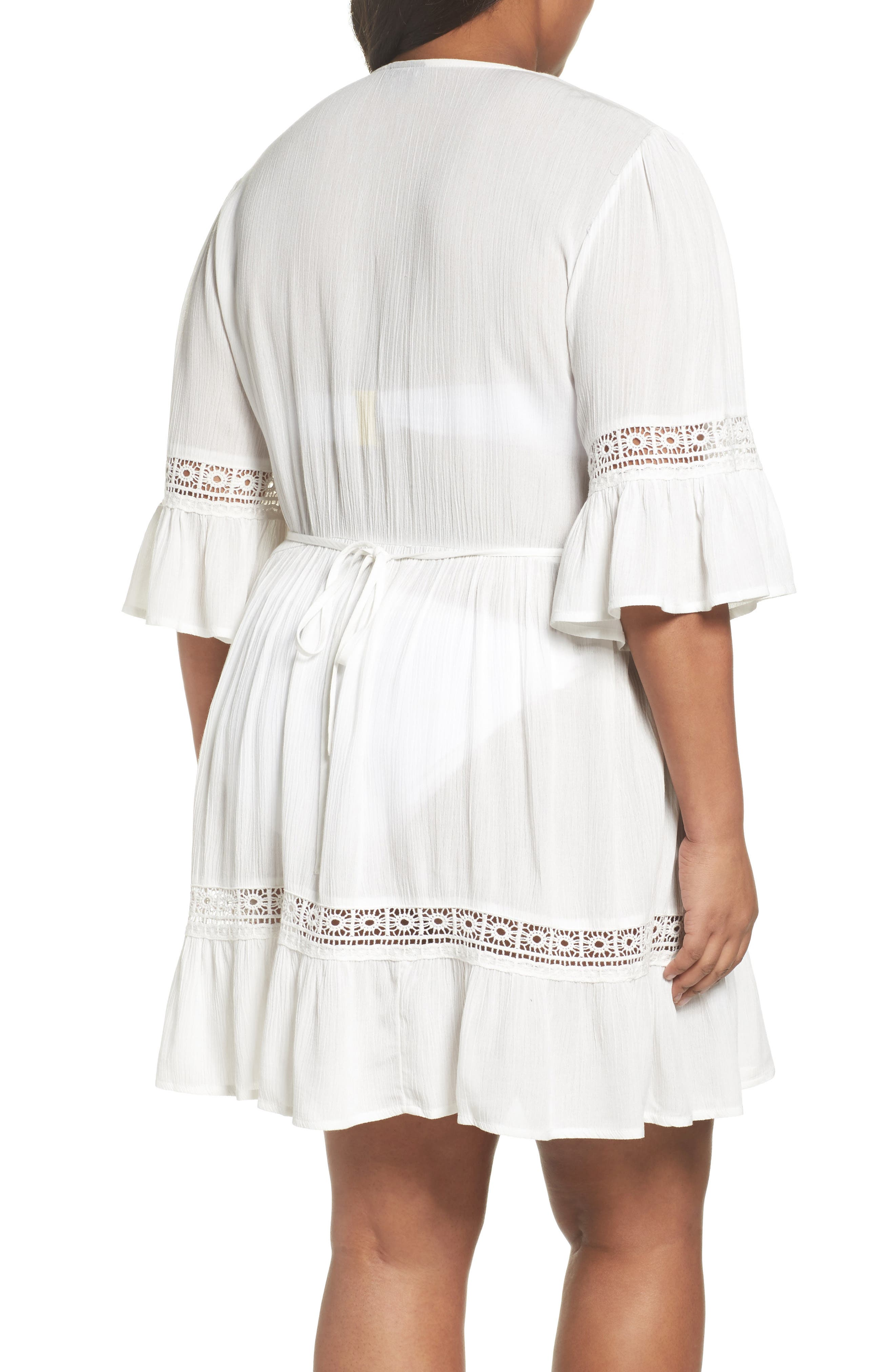 Embroidered Bell Sleeve Fit & Flare Dress,                             Alternate thumbnail 2, color,                             Ivory