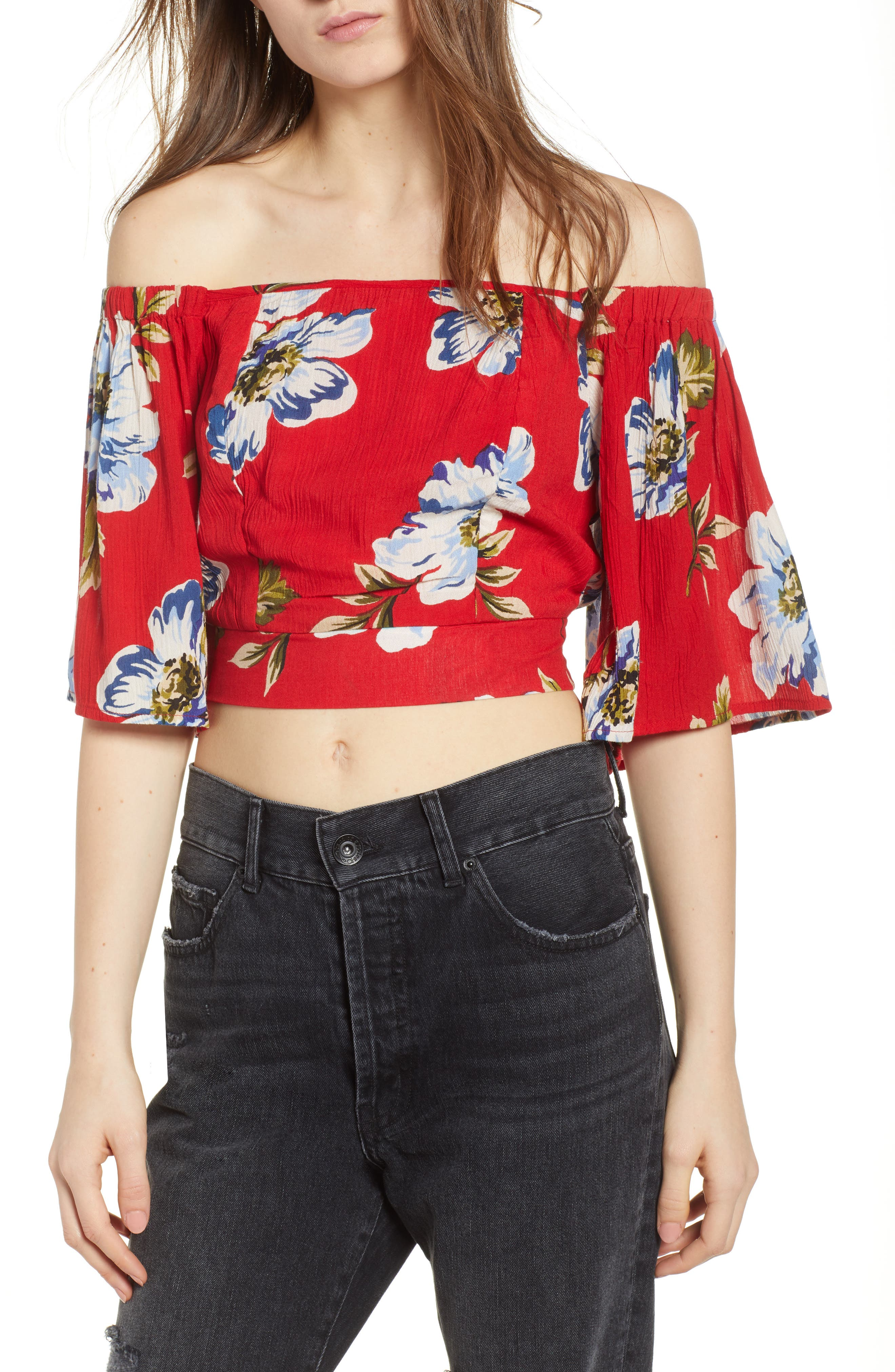 Blue Moon Floral Off the Shoulder Crop Top,                             Main thumbnail 1, color,                             Red/ Sky