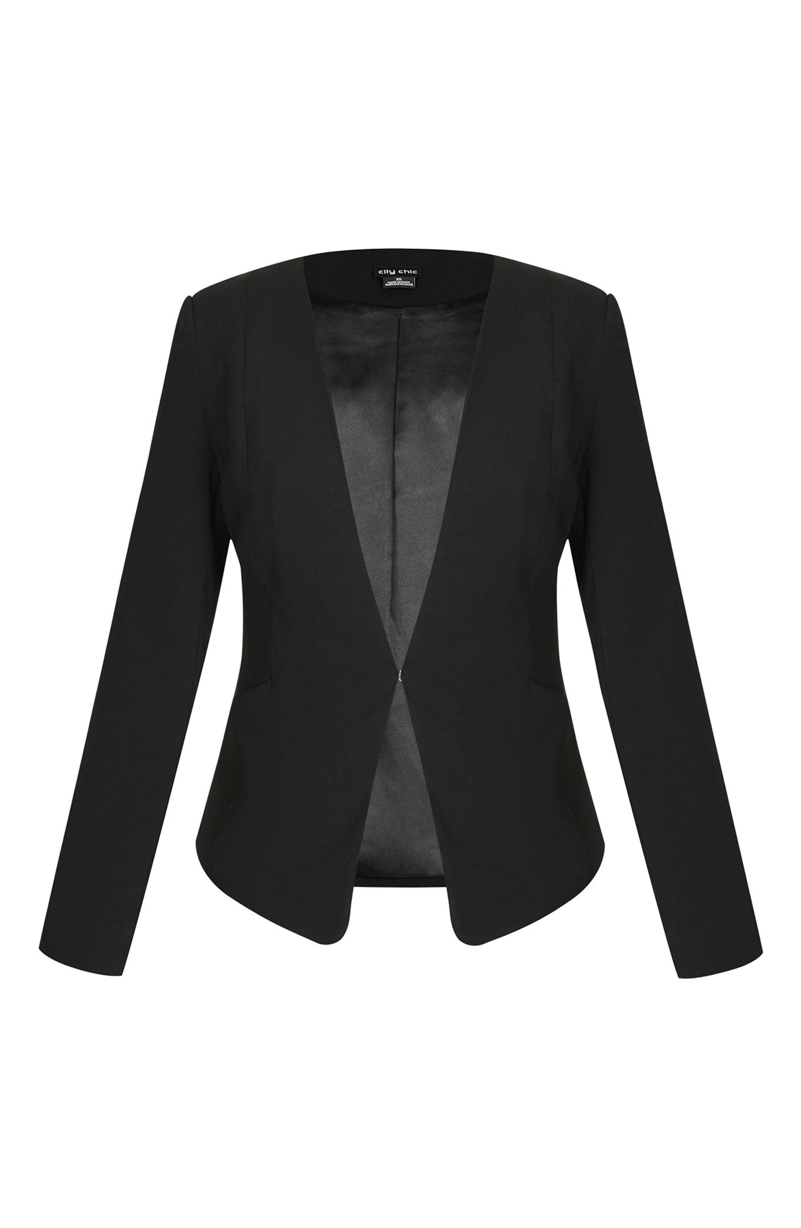 Pirouette Collarless Jacket,                             Alternate thumbnail 3, color,                             Black