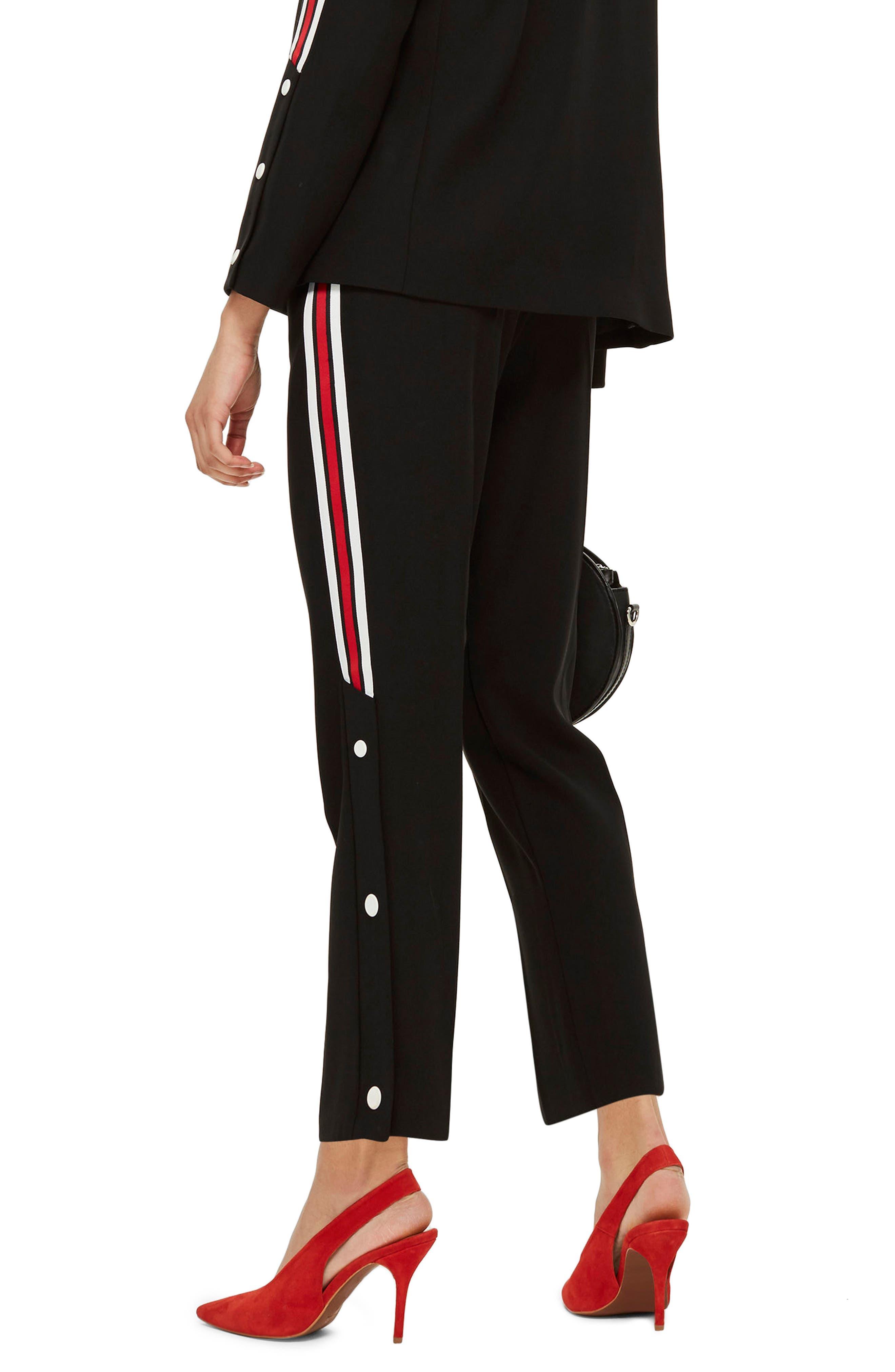 Side Stripe Popper Trousers,                             Alternate thumbnail 2, color,                             Black Multi