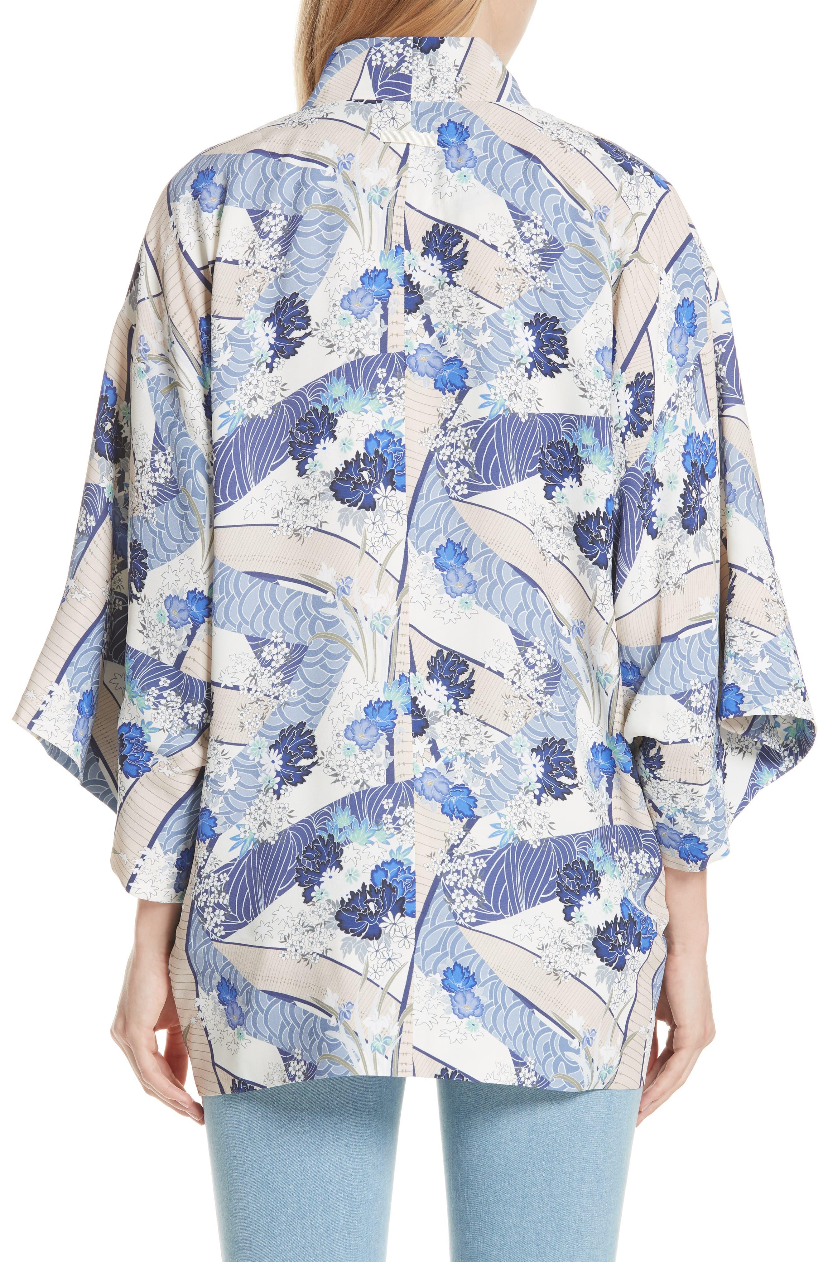 Drew Floral Print Kimono Jacket,                             Alternate thumbnail 2, color,                             Blue Floral